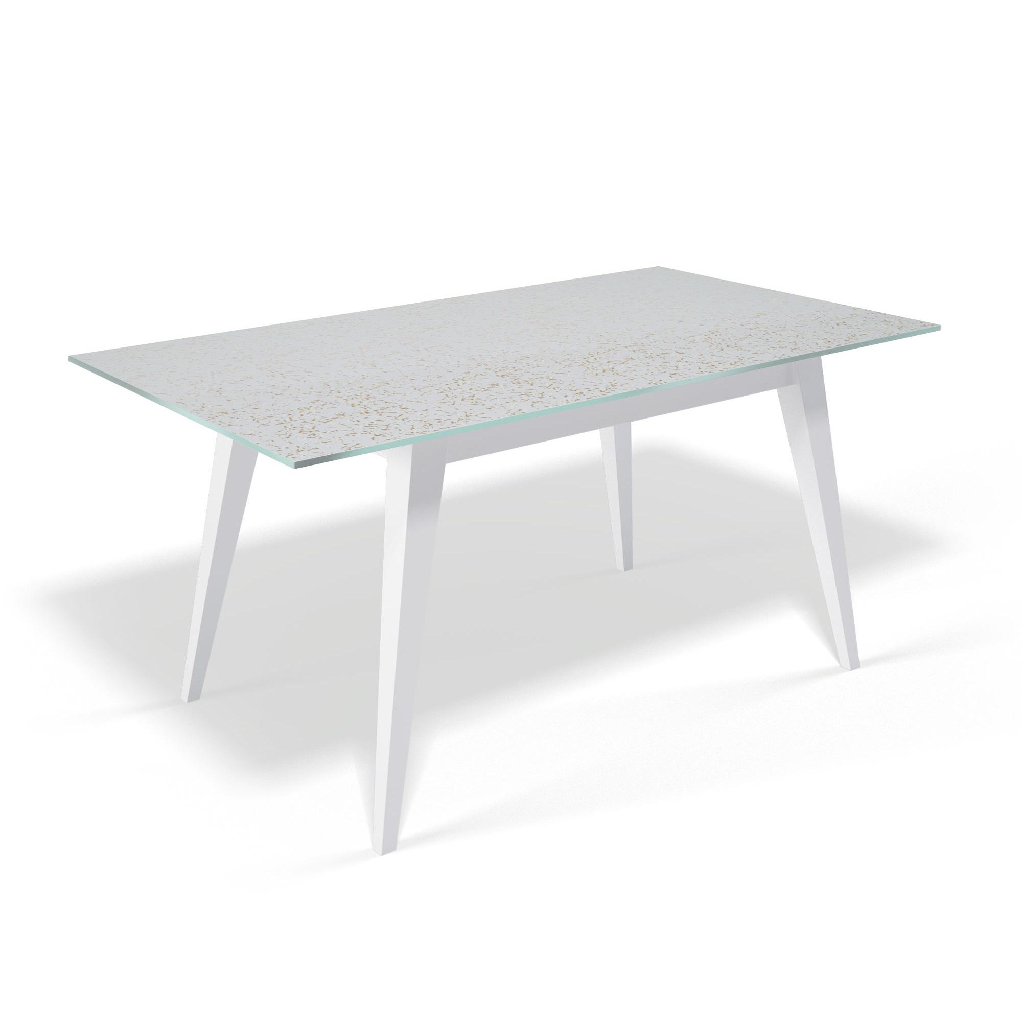Стол обеденный KennerОбеденные столы<br>Столешница выполнена из стекла триплекс(6 мм - два или более органических или силикатных стекла, склеенные между собой специальной полимерной плёнкой, способной при ударе удерживать осколки)  с тканью внутри.&amp;nbsp;Также используется органза с золотыми нитями, благодаря чему на столешнице не будут видны отпечатки пальцев и царапины.&amp;nbsp;Основание выполнено массива бука.&amp;nbsp;Стекло не боится влаги, бытовой химии, выдерживает перепады на горячие и холодные температуры. В разложенном виде: 200х90 см.&amp;nbsp;Вставка выполнена также полностью из стекла.&amp;nbsp;За таким столом могут свободно разместиться от 6 до 10 человек.<br><br>kit: None<br>gender: None
