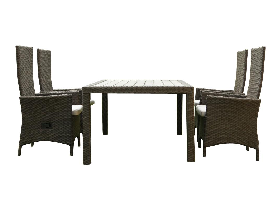 Столовая группа  LAVRAS 165Комплекты уличной мебели<br>Столовая группа из экологически чистого материала. Мебель удобно переставлять, она не требует особого ухода и прослужит не один сезон. Плетеная поверхность мебели гармонично сочетается с окружающей природой, дополняет картину загородной безмятежности и спокойствия.<br><br>В комплект входит стол и 4 стула.<br>Вокруг стола легко встают 6 стульев.<br>Стулья можно докупить отдельно.<br>Стол в комплекте мебели LAVRAS (165)<br>Размеры изделия 160х105х75 см<br>Раскладное кресло-стул LAVRAS<br>Размеры изделия:<br>ширина стула 62 см<br>глубина сиденья 45 см<br>высота стула 115 см<br>высота сиденья 42 см<br><br>Material: Ротанг