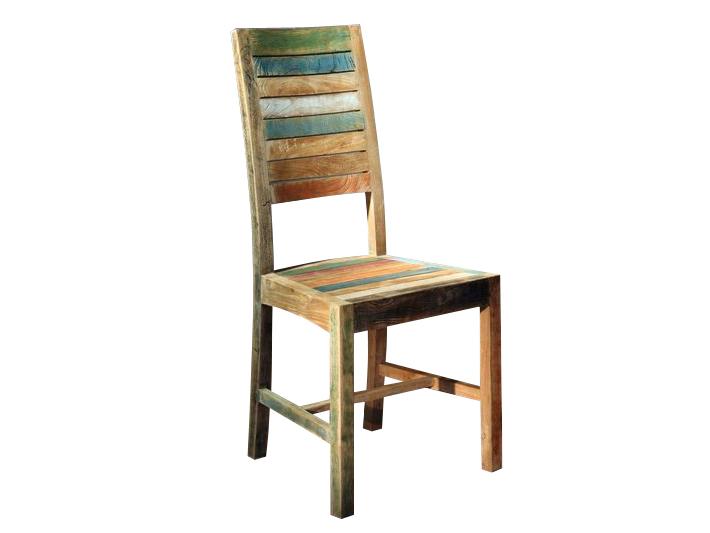 Стул ClaudiaОбеденные стулья<br>Простой стул с высокой спинкой, которая, как и сиденье, набрана из цветных, покрытых краской и состаренных, тиковых дощечек.<br><br>Material: Тик<br>Ширина см: 45<br>Высота см: 105