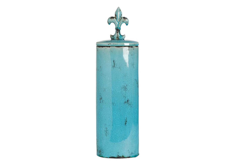 Ваза TowerВазы<br>Голубая декоративная ваза с геральдической лилией на крышке.<br><br>Material: Керамика<br>Высота см: 46