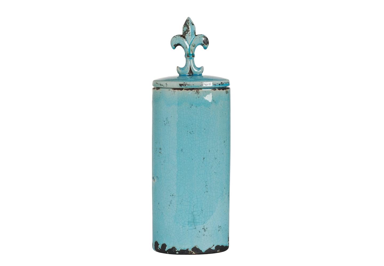 Ваза с крышкой EmpireВазы<br>Декоративная ваза из фаянса голубого цвета с  крышкой.<br><br>Material: Керамика<br>Высота см: 26