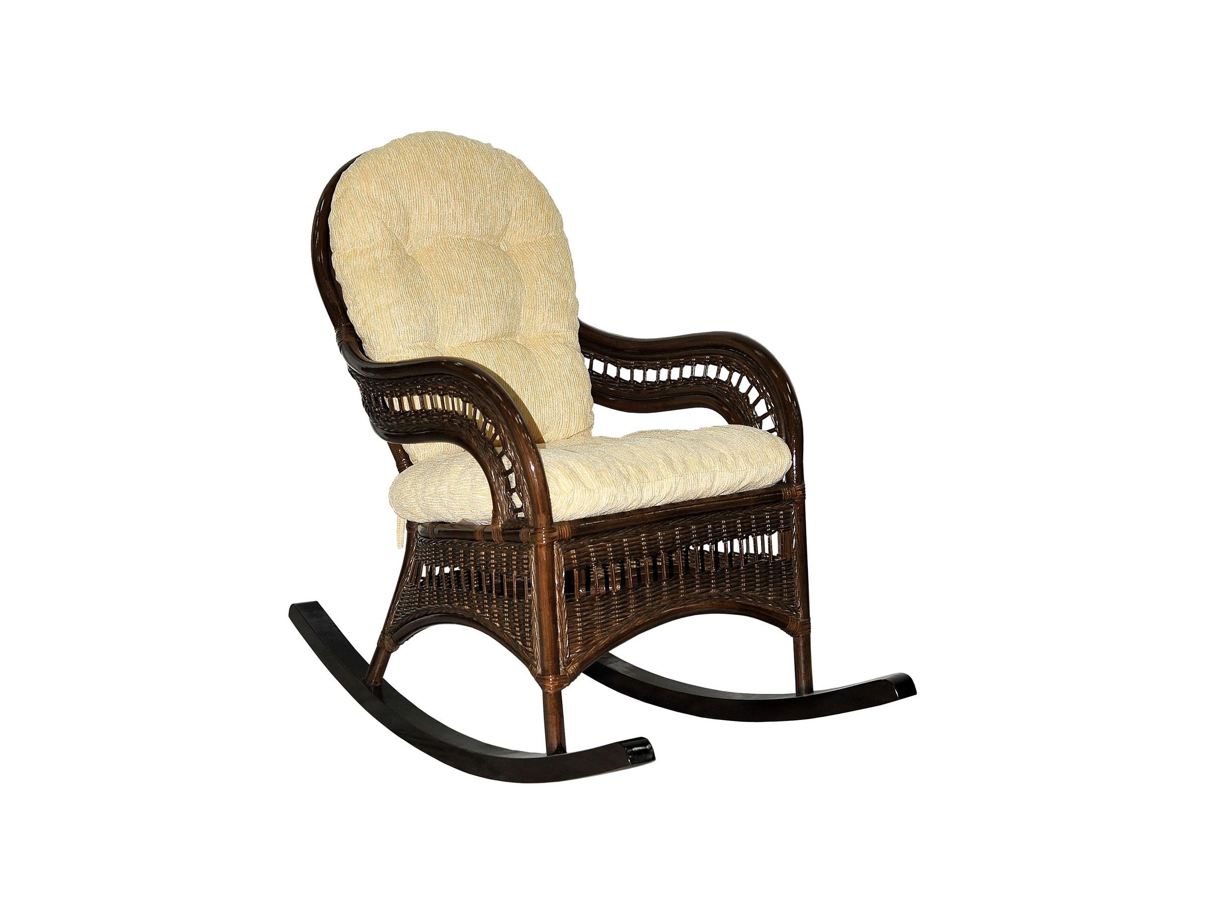 Кресло-качалка KiwiКресла для сада<br>Цвет: браун (коричневый)Материал подушки: шениллВес, кг:  10Выдерживаемая нагрузка, кг:  95<br><br>kit: None<br>gender: None