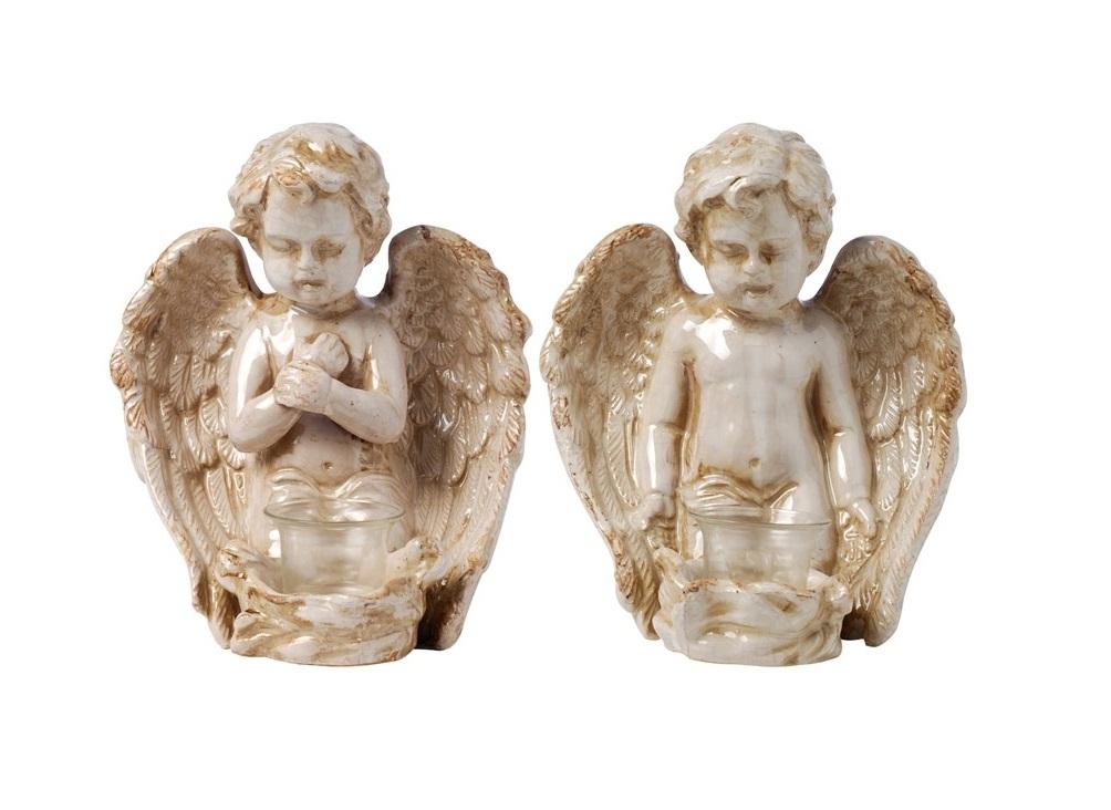 Набор подсвечников Angel (2шт.)Подсвечники<br><br><br>Material: Керамика<br>Ширина см: 21<br>Высота см: 23<br>Глубина см: 18