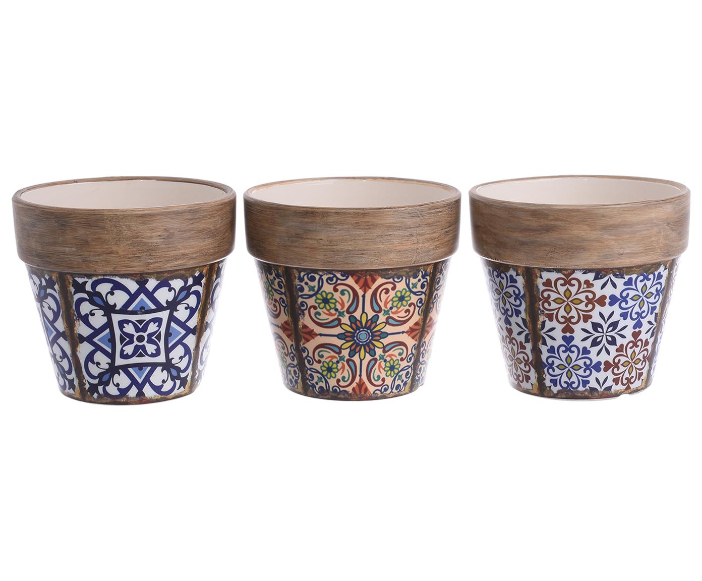 Набор кашпо Malika (3шт)Кашпо и аксессуары для цветов<br><br><br>Material: Керамика<br>Ширина см: 14.0<br>Высота см: 12.5<br>Глубина см: 14.0