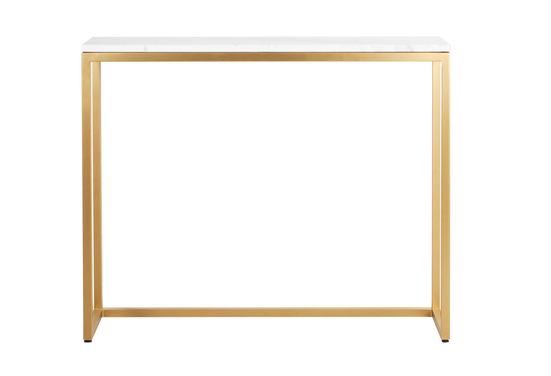 КонсольНеглубокие консоли<br>Лаконичная консоль с мраморной столешницей – удобный и стильный предмет интерьера. Золотистый цвет добавит пространству роскоши и изящества, а простые формы с легкостью впишутся в любой интерьер. Эта компактная стильная мебель украсит узкий коридор или выступит центральной композицией вашей гостиной. Металлические детали консоли обработаны порошковой краской методом напыления и декоративным финишем, благодаря чему цвет получается глубоким и стойким. Данная технология обеспечивает высокую прочность поверхности и способна придать золотому покрытию красивый оттенок.&amp;amp;nbsp;<br><br>Material: Металл<br>Ширина см: 101.0<br>Высота см: 80.0<br>Глубина см: 31.0