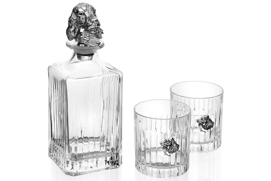 Набор для виски из 2 стаканов и штофа СпаниельКувшины и графины<br><br><br>Material: Хрусталь