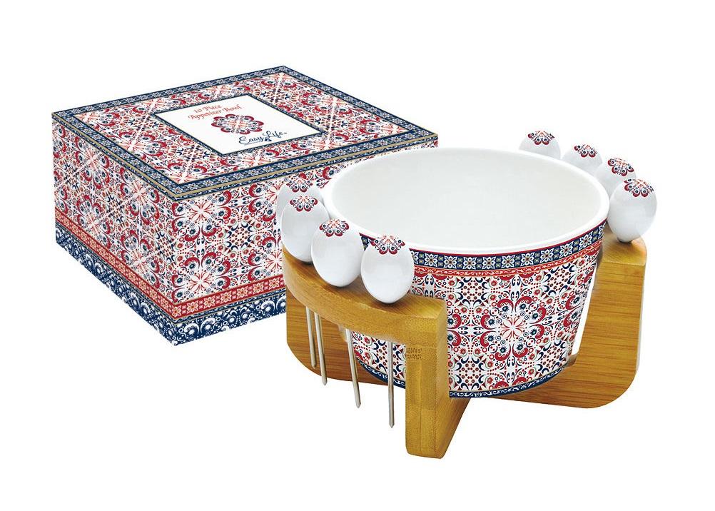 Набор для закуски МавританияМиски и чаши<br>Набор для закуски: салатник для оливок + 8 шпажек на подставке &amp;quot;Мавритания&amp;quot;.<br><br>Material: Фарфор