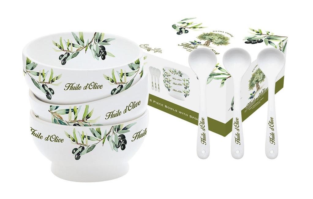 Набор салатников с ложками Прованс (3шт)Миски и чаши<br><br><br>Material: Фарфор