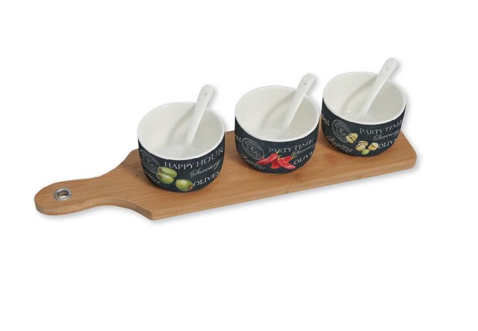 Набор для закускиМиски и чаши<br>Набор для закуски: 3 чаши (8см) с ложками, поднос.<br><br>Material: Фарфор<br>Высота см: 8