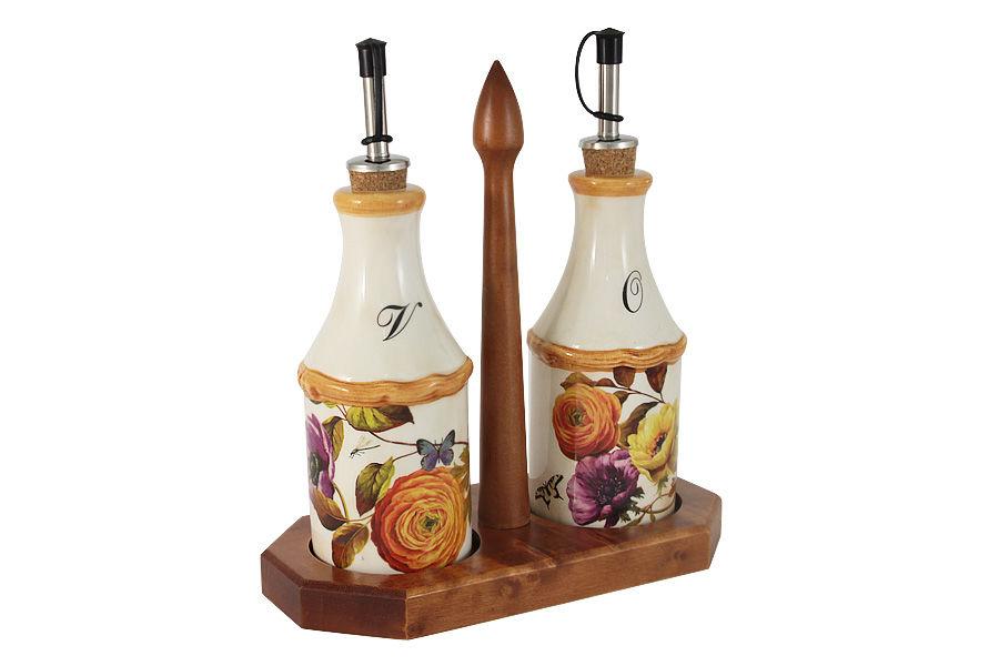 Набор бутылок на подставке ЭлегансЕмкости для хранения<br>Набор бутылок для масла и уксуса на подставке &amp;quot;Элеганс&amp;quot;.<br><br>Material: Керамика