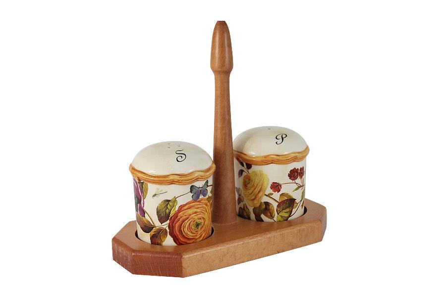 Набор для специй на деревянной подставке ЭлегансНабор для специй<br><br><br>Material: Керамика