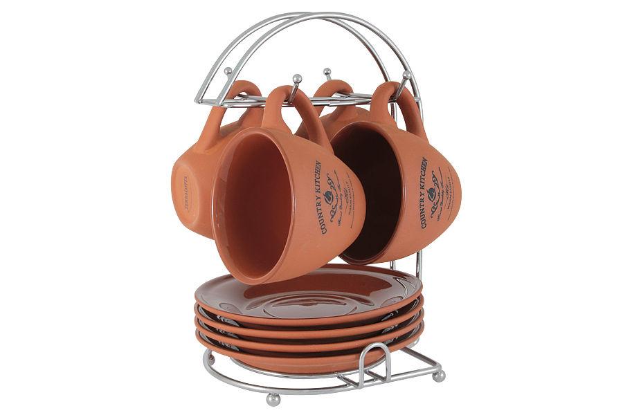Набор на металлической подставке Умбра (4шт)Чайные пары, чашки и кружки<br><br><br>Material: Керамика