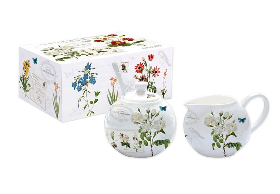 Набор: сахарница с ложкой и сливочник Ботанический садСахарницы<br><br><br>Material: Фарфор