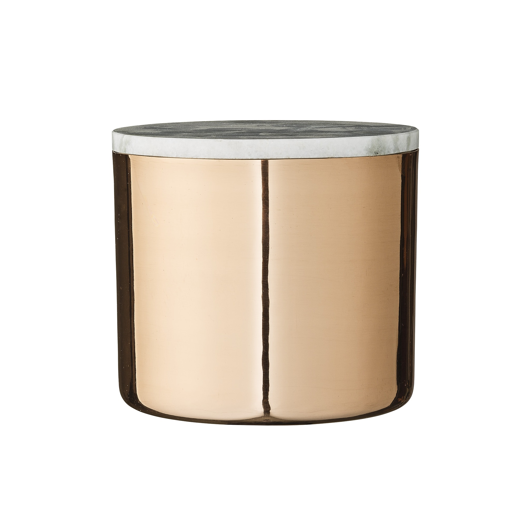 Декоративная емкость с крышкойЕмкости для хранения<br>Интересный предмет декора от Bloomingville, имеющий не только эстетическое, но и практическое значение. В емкости с крышкой из мрамора можно хранить самые разные мелкие вещи – от швейных принадлежностей до фотографий и дисков. Сочетание теплого оттенка меди и прохладного цвета мрамора отличает дизайнерский декор Bloomingville, который удачно вписывается в современные интерьеры.&amp;amp;nbsp;&amp;lt;div&amp;gt;&amp;lt;br&amp;gt;&amp;lt;/div&amp;gt;&amp;lt;div&amp;gt;Рекомендуется для интерьерных стилей: скандинавский, лофт, современный. &amp;lt;/div&amp;gt;<br><br>Material: Металл<br>Высота см: 14