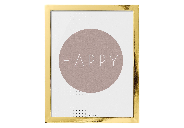 Картина с надписью HappyПостеры<br>Эта милая картина от датских дизайнеров Bloomingville в золотой металлической раме с надписью HAPPY в нежно-розовом круге на белом фоне добавит настроения и и станет стильным акцентом в вашем пространстве! Можно поставить на полку или повесить на стену с помощью креплений на оборотной стороне картины.<br><br>Material: Металл<br>Ширина см: 20<br>Высота см: 25