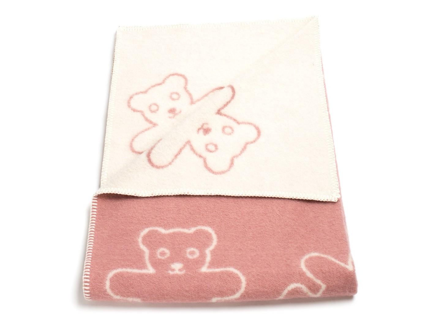 Плед Teddy RoseШерстяные пледы<br>Уютный детский плед с рисунком &amp;quot;Мишки&amp;quot;. Одна сторона - розовая, вторая - кремовая. Теплое, натуральное шерстяное одеяло для Вашей малышки!<br><br>Material: Шерсть<br>Ширина см: 90