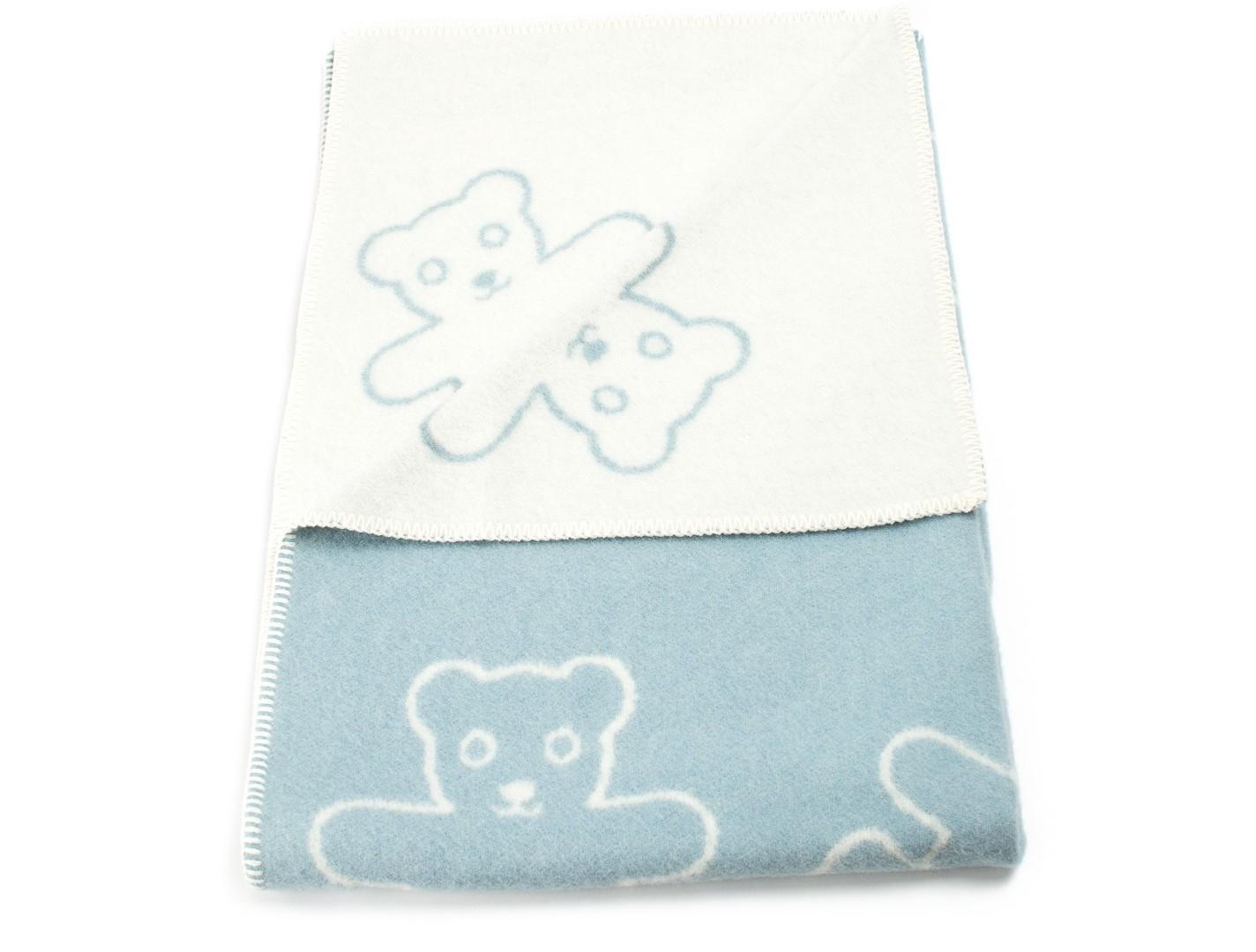 Плед Teddy BlueШерстяные пледы<br>Уютный детский плед с рисунком &amp;quot;Мишки&amp;quot;. Одна сторона - голубая, вторая - кремовая. Теплое, натуральное шерстяное одеяло для Вашего малыша!<br><br>Material: Шерсть<br>Ширина см: 90