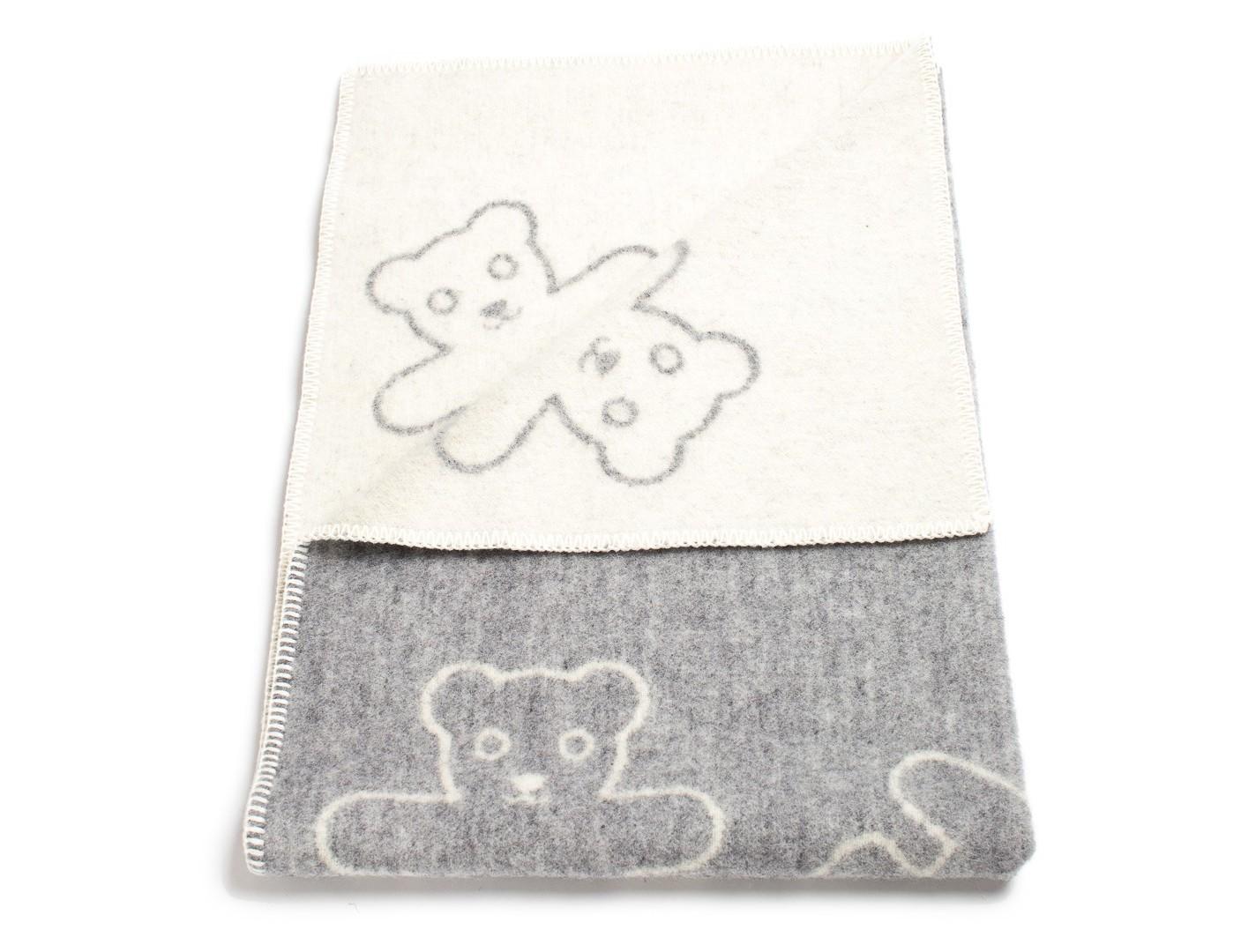 Плед Teddy GreyШерстяные пледы<br>Уютный детский плед с рисунком &amp;quot;Мишки&amp;quot;. Одна сторона - серая, вторая - кремовая. Теплое, натуральное шерстяное одеяло для Вашего малыша!<br><br>Material: Шерсть<br>Ширина см: 90