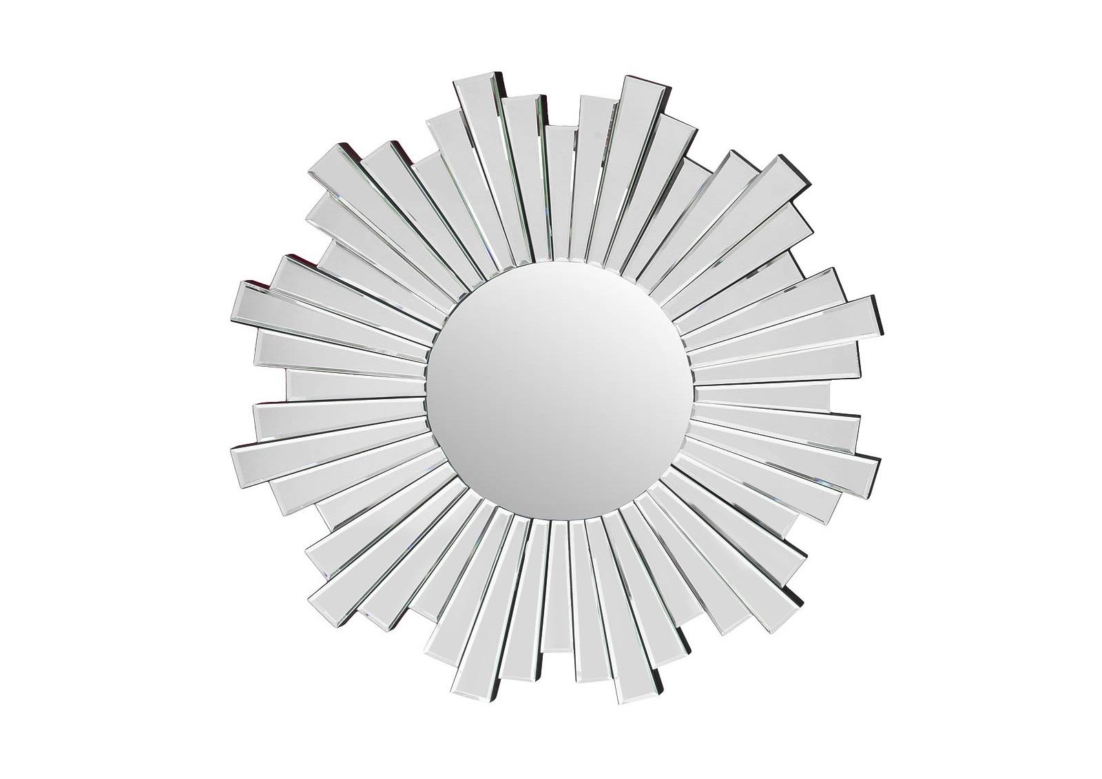 ЗеркалоНастенные зеркала<br>Любители абстракции и сложной геометрии не останутся равнодушными к силуэту этого зеркала. Круг, дополненный множеством прямоугольных лучей, покорит их контрастом противоположных форм. Конструкция, которая выглядит мягко и резко одновременно, заворожит гармоничным объединением плавных линий и острых углов. Особенно хорошо она впишется в интерьер в стиле ар деко или америанском стиле, где приветствуются такие сочетания.<br><br>Material: Стекло<br>Ширина см: 85<br>Высота см: 85
