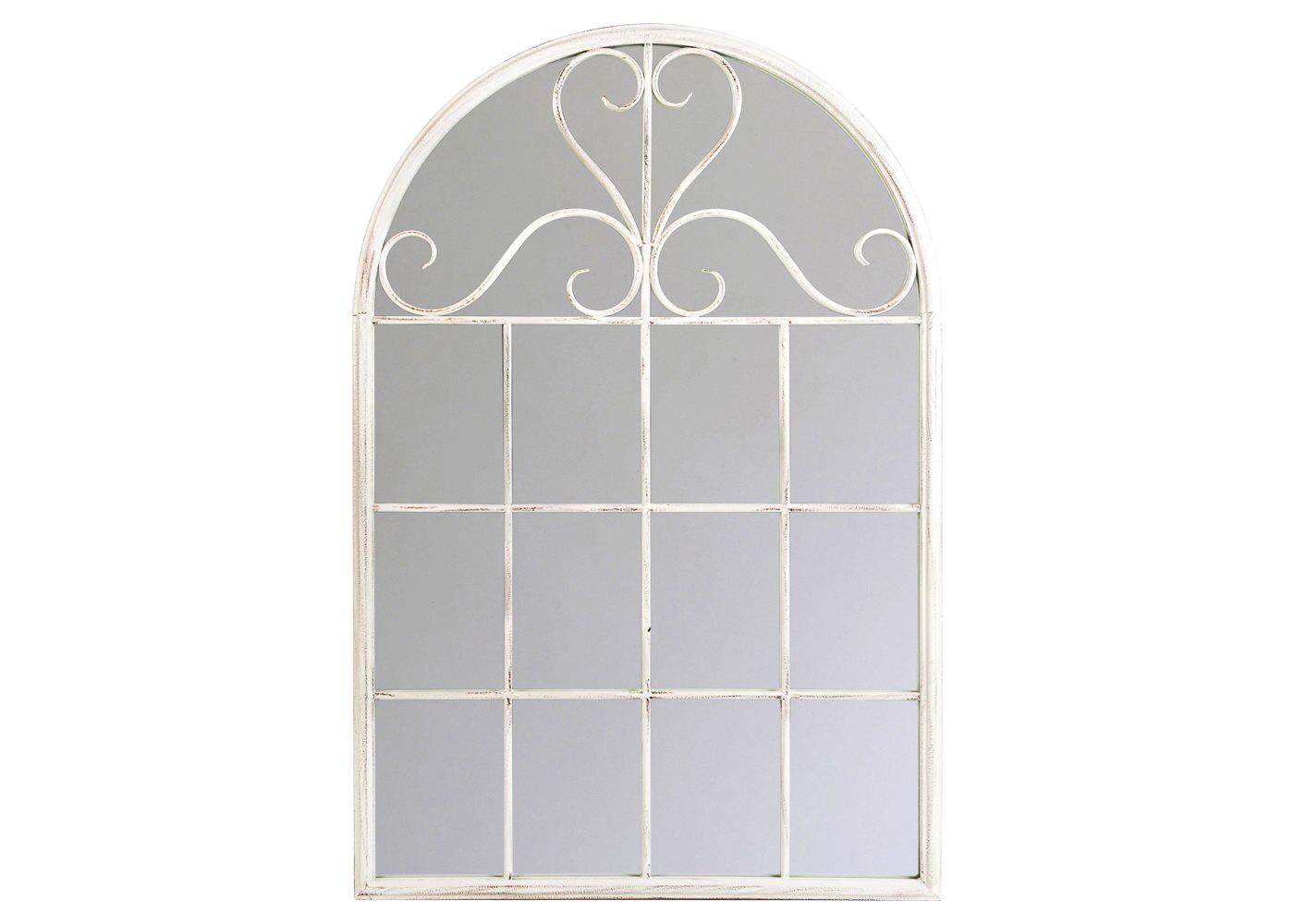 Настенное зеркало «Венсен» (белый антик)Настенные зеркала<br>Дизайн зеркала &amp;quot;Венсен&amp;quot; напоминает романтичные оконные рамы позапрошлого столетья. Галерея зеркальных &amp;quot;окон&amp;quot; - эффектный имидж старинного поместья, пронизанного атмосферой свежего воздуха и света. Этот дизайн дружественен большинству интерьерных стилей, от романского до &amp;quot;модерна&amp;quot;. Особый комплимент - почитателям французского &amp;quot;прованса&amp;quot;. Просторное зеркало - непременный элемент гостиной и столовой, холла и прихожей. <br>Арочная форма зеркала &amp;quot;Венсен&amp;quot; увенчана плавным узором, придающим лаконичному дизайну эффект пышности и легкости. <br>Классический белый цвет оправы зеркала - залог гармонии с большинством предметов мебели и декора. <br>Любое помещение, наряженное аксессуарами из тонких белых линий, остается светлым и просторным.  <br>Зеркала, покрытые серебряной амальгамой, обладают идеально ровной поверхностью, не боятся влаги и ультрафиолетовых лучей, они долговечны и не подвержены коррозии. <br>Металлические рамы прочны и неприхотливы в уходе. Вы можете смело пользоваться чистящими средствами для зеркала, не опасаясь повредить раму.<br>Размер: 75?113?2,5 см<br><br>Material: Металл