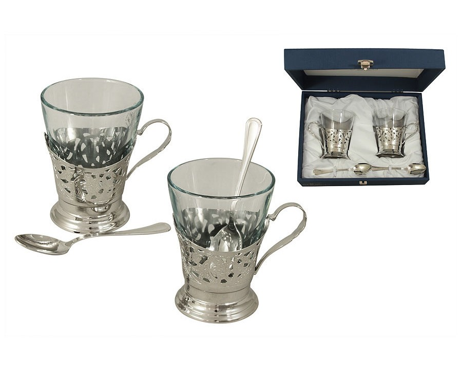 Набор для чая на 2 персоны Del TrenoЧайные пары, чашки и кружки<br>Материал: металл, стекло.<br><br>Material: Металл