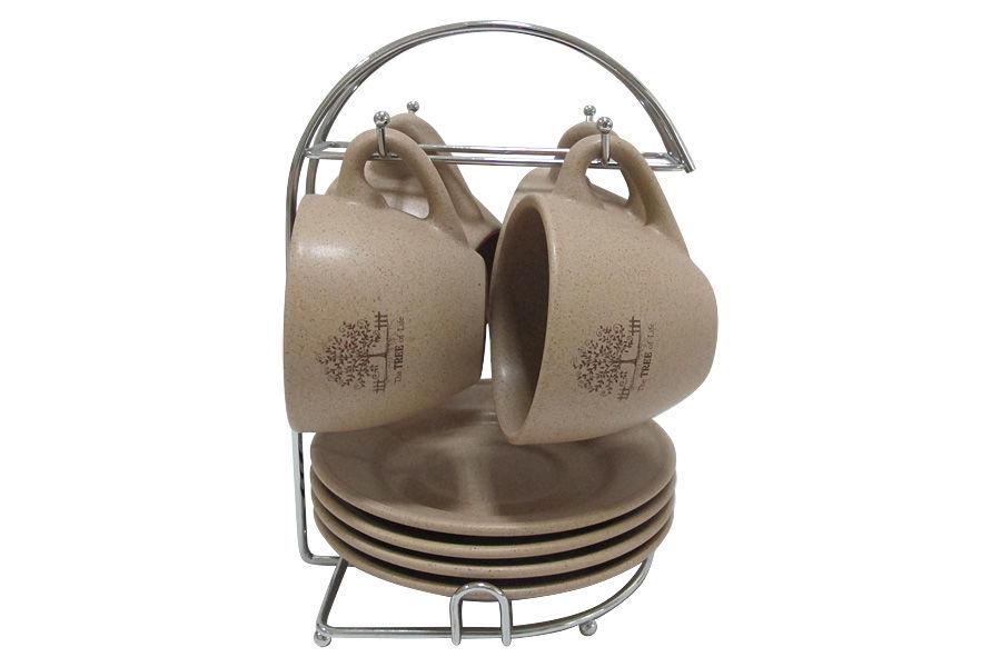 Набор Дерево жизниЧайные пары, чашки и кружки<br>Набор: 4 чашки + 4 блюдца на металлической подставке.<br><br>Material: Керамика