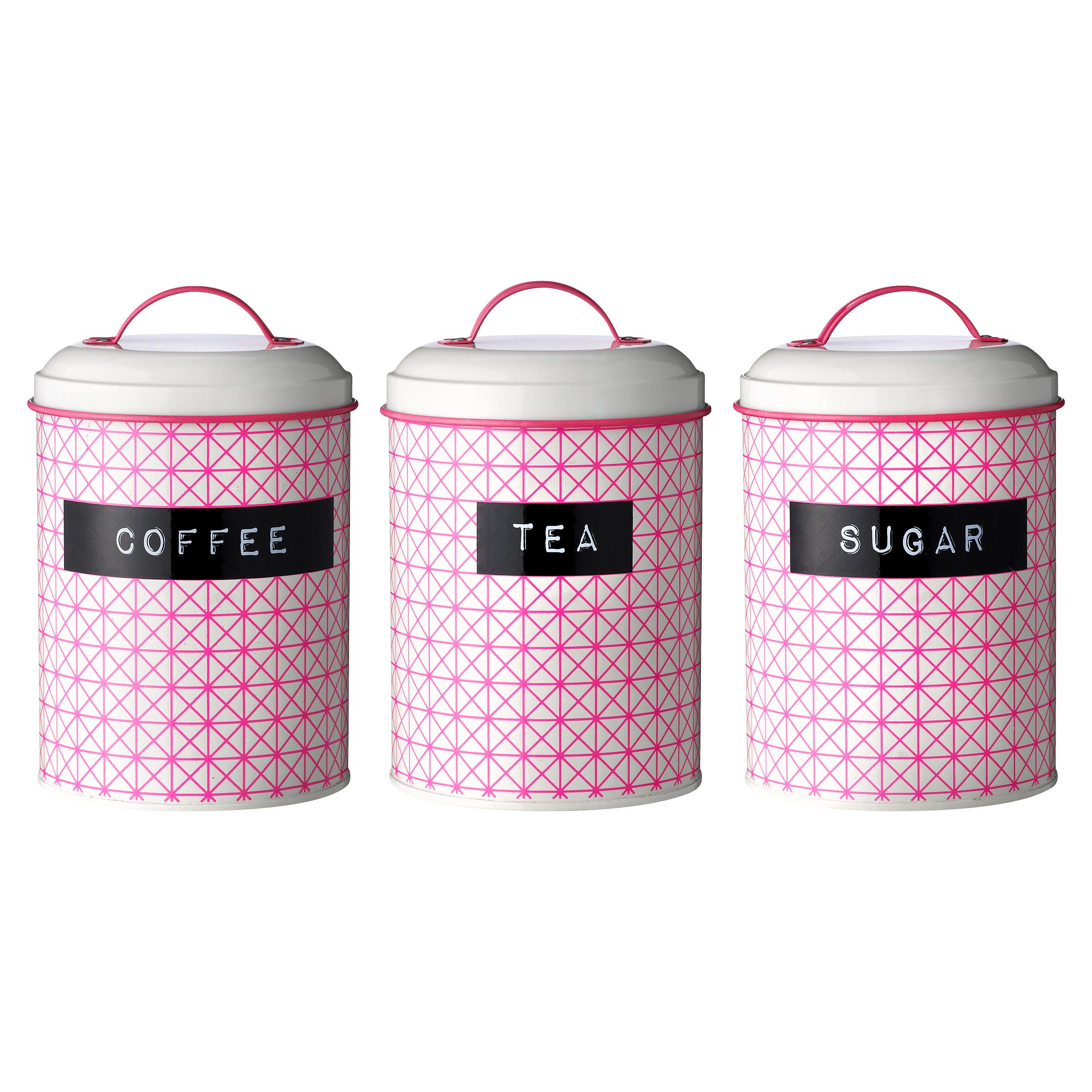 Набор емкостей Metal retroЕмкости для хранения<br>Набор емкостей для хранения сахара, кофе и чая выполнен из высококачественных материалов, а эта яркая расцветка в стиле ретро добавит настроения на Вашей кухне и привлечет внимание гостей!<br><br>Material: Металл<br>Высота см: 14.5