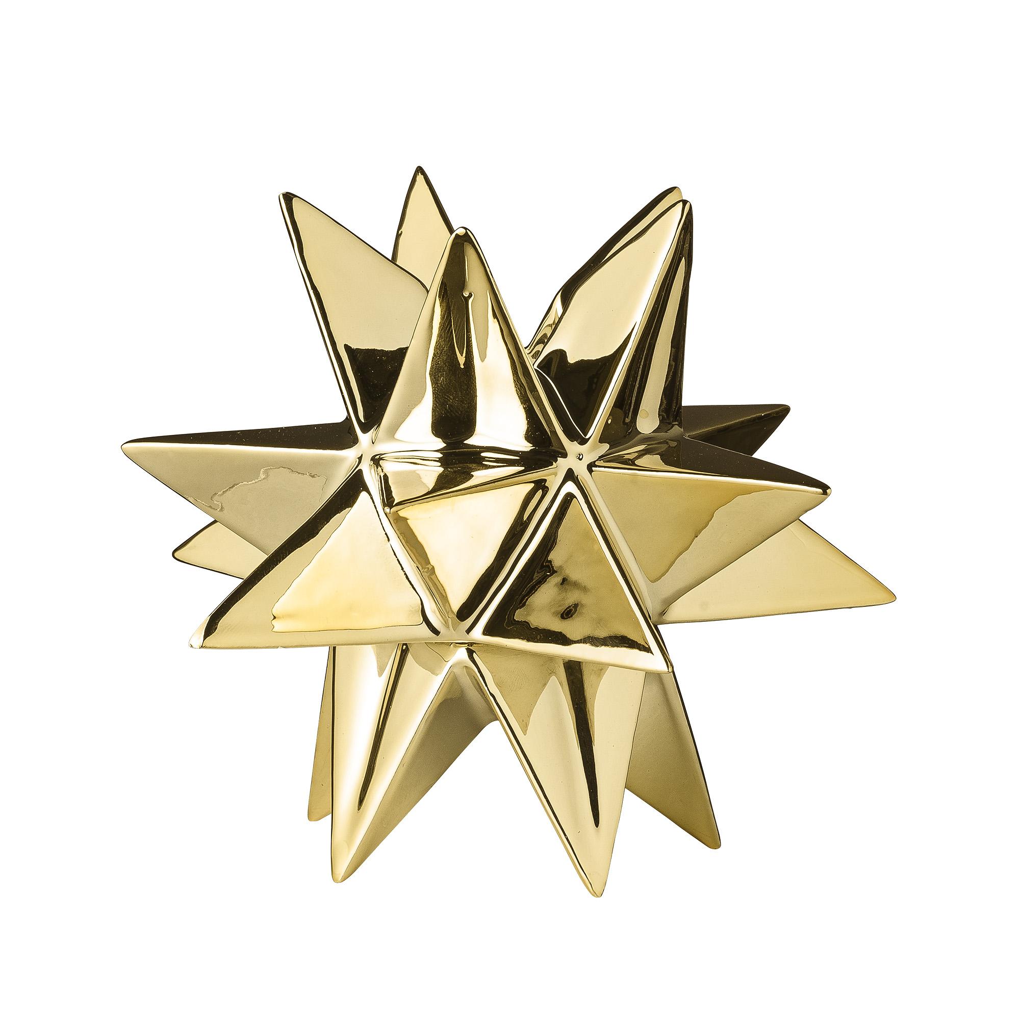 Подсвечник Звезда 3DПодсвечники<br>Декоративная золотая звезда из керамики с углублением для свечей диаметром 2 см от датских дизайнеров Bloomingville.<br><br>Material: Керамика<br>Ширина см: 13.0<br>Высота см: 12.5<br>Глубина см: 11.0