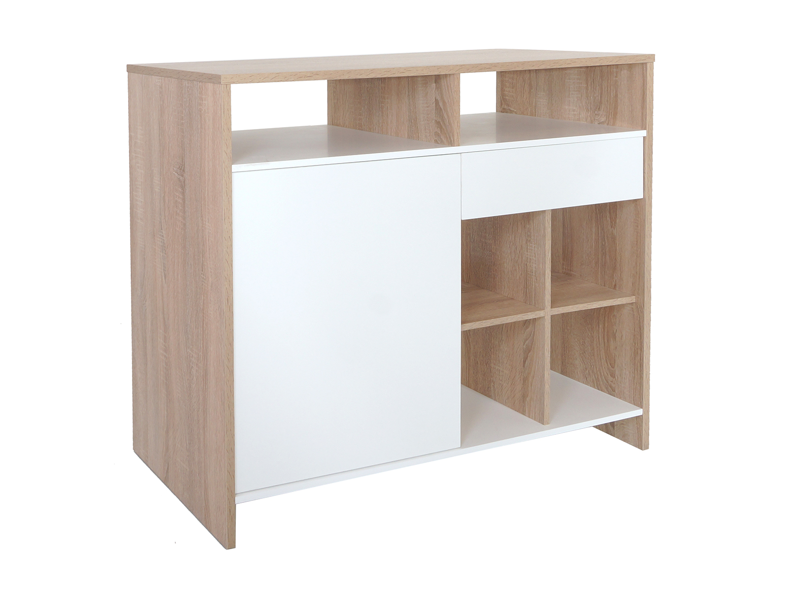 Стол TorontoБарные столы<br>Функциональный барный стол включает 6 полок для хранения, один выдвижной ящик, одно отделение с дверкой. Дверцы шкафа и выдвижной ящик открываются за кромку. Идеальное решение для маленьких пространств, может служить пристенным шкафом или полноценным барн...<br><br>Material: ДСП<br>Ширина см: 122<br>Высота см: 108<br>Глубина см: 48