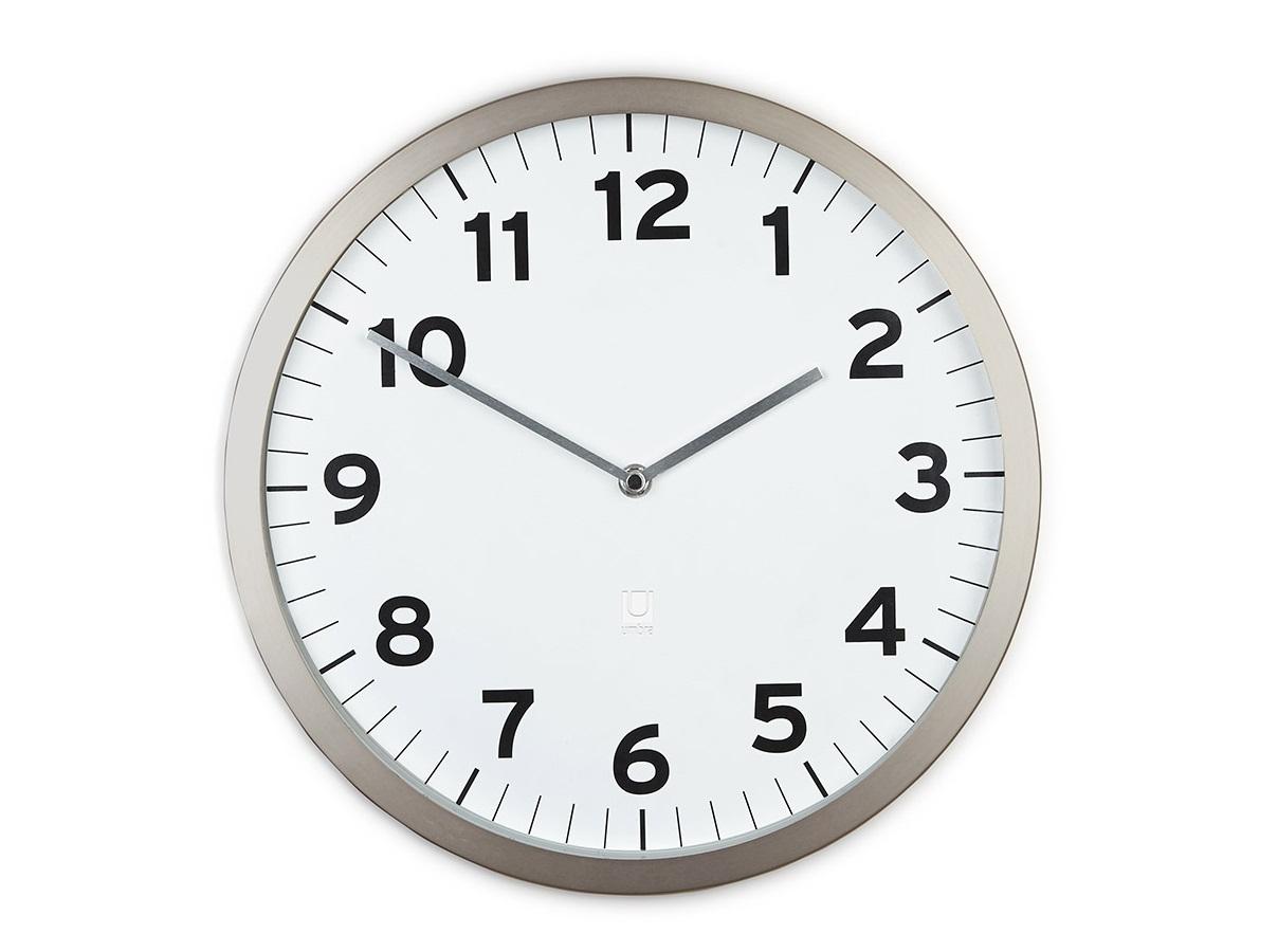 Настенные часы AnytimeНастенные часы<br>Классическая форма в современном прочтении. Настенные часы с корпусом из металла с эффектом шлифовки и стеклянной линзой. Как и у всех часов Umbra ход этих часов плавный и совершенно бесшумный.&amp;amp;nbsp;&amp;lt;div&amp;gt;&amp;lt;br&amp;gt;&amp;lt;/div&amp;gt;&amp;lt;div&amp;gt;Кварцевый механизм&amp;lt;/div&amp;gt;&amp;lt;div&amp;gt;Работают они от одной стандартной AA батарейки (не входит в комплект). Ч&amp;lt;/div&amp;gt;<br><br>Material: Металл<br>Глубина см: 3