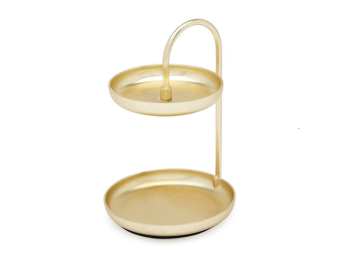 Держатель для колец poise латуньХранение украшений<br>Стильный двухуровневый органайзер для украшений, который поместится даже на самый маленький туалетный столик. Он сохранит любимые украшения от влаги, пыли и просто не даст им потеряться. На двух полочках удобно хранить кольца, цепочки и браслеты, а на округлых бортиках можно развесить серьги, чтобы они были всегда на виду. Матовое латунное покрытие достаточно сдержанно, чтобы дополнить даже классические интерьеры.&amp;amp;nbsp;<br><br>Material: Металл<br>Высота см: 10
