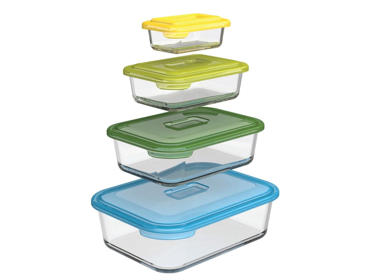 Набор контейнеров Nest  (4 шт.)Емкости для хранения<br>Расширение популярной коллекции Nest в новом материале и с новым функционалом. Универсальный набор стеклянных контейнеров подходит и для приготовления еды в духовке, и для её хранения. Газосиликатное стекло отличается высокой прочностью к повреждениям  и устойчивостью к температурным перепадам. Благодаря этой особенности контейнеры с продуктами можно вынимать из холодильника и сразу ставить в микроволновую печь или в духовку.&amp;amp;nbsp;&amp;lt;div&amp;gt;&amp;lt;br&amp;gt;&amp;lt;/div&amp;gt;&amp;lt;div&amp;gt;&amp;amp;nbsp;В комплект входит 4 лотка объемом 130 мл, 550 мл, 1,3 л, 2,5 л с крышками.&amp;lt;br&amp;gt;&amp;lt;/div&amp;gt;<br><br>Material: Стекло<br>Ширина см: 27<br>Высота см: 10.0<br>Глубина см: 21.0