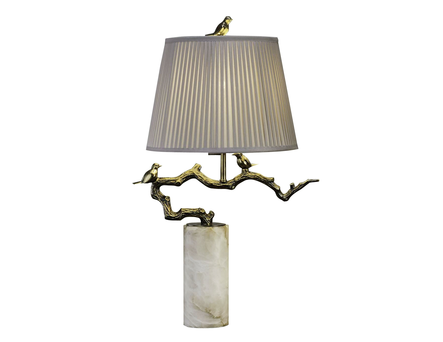 Светильник настольный TrevisoДекоративные лампы<br>&amp;lt;div&amp;gt;Настольная лампа в виде веточки с сидящими на ней птичками, цвета темной латуни, с бежевым тканевым абажуром и на подставке из натурального оникса. В любом интерьере она будет стильным элементом декора.&amp;lt;/div&amp;gt;&amp;lt;div&amp;gt;&amp;lt;br&amp;gt;&amp;lt;/div&amp;gt;&amp;lt;div&amp;gt;Вид цоколя: E27&amp;lt;/div&amp;gt;&amp;lt;div&amp;gt;Мощность: 60W&amp;lt;/div&amp;gt;&amp;lt;div&amp;gt;Количество ламп: 1 (нет в комплекте)&amp;lt;/div&amp;gt;<br><br>Material: Алюминий<br>Ширина см: 52<br>Высота см: 85<br>Глубина см: 42