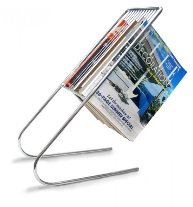 Держатель журналов FlowЗонтницы<br>Прекрасная альтернатива журнальным столикам – держатель для журналов &amp;quot;Float&amp;quot;. В отличие от столика его легко переносить с места на место, способен вместить до 12 журналов. Можно разместить как на столе, комоде или любой другой возвышенности, так и на полу. Держатель очень устойчив благодаря материалу изготовления – хромированная сталь. Высота держателя подходит под большинство диванов.<br><br>Material: Металл<br>Ширина см: 17<br>Высота см: 27<br>Глубина см: 51