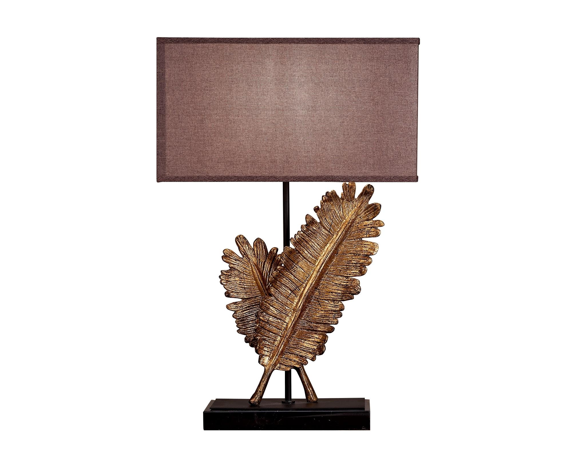 Светильник настольный LivornoДекоративные лампы<br>&amp;lt;div&amp;gt;Стильная настольная лампа с коричневым тканевым абажуром и с декоративным основанием цвета состаренного золота в виде перышек. Хорошо подойдет для современного интерьера, оформленного в винтажном, эко, ар-деко, фьюжн, минимализм и лофт стилях. В любом интерьере она будет ярким и стильным элементом декора.&amp;lt;/div&amp;gt;&amp;lt;div&amp;gt;&amp;lt;br&amp;gt;&amp;lt;/div&amp;gt;&amp;lt;div&amp;gt;Вид цоколя: E27&amp;lt;/div&amp;gt;&amp;lt;div&amp;gt;Мощность: 60W&amp;lt;/div&amp;gt;&amp;lt;div&amp;gt;Количество ламп: 1 (нет в комплекте)&amp;lt;/div&amp;gt;&amp;lt;div&amp;gt;Материал: цинковый сплав&amp;lt;br&amp;gt;&amp;lt;/div&amp;gt;<br><br>Material: Металл<br>Ширина см: 47.0<br>Высота см: 70.0<br>Глубина см: 25.0
