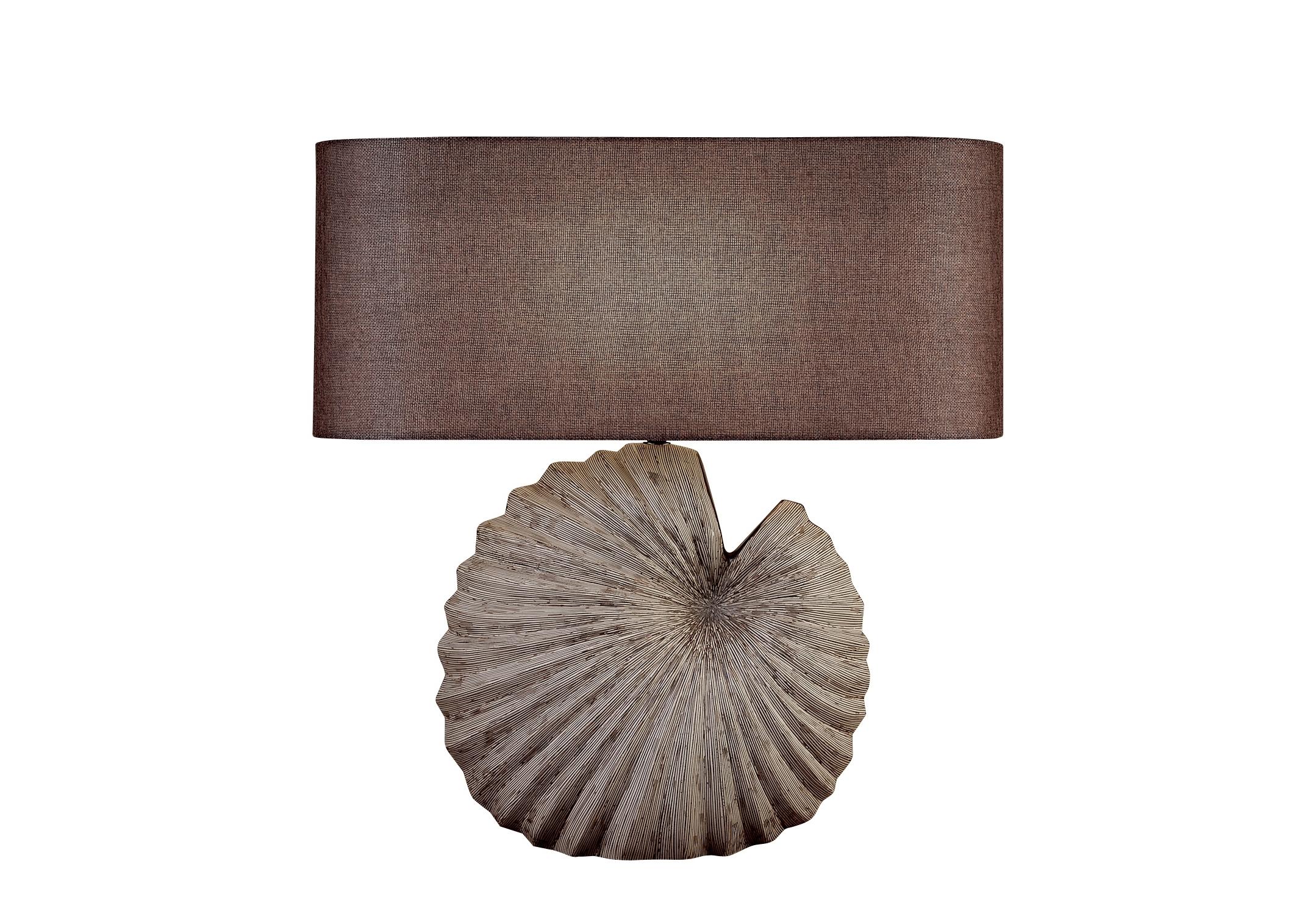 Светильник настольный MonzaДекоративные лампы<br>&amp;lt;div&amp;gt;Стильная настольная лампа с коричневым тканевым абажуром и с декоративным основанием в виде ракушки. Хорошо подойдет для современного интерьера, оформленного в винтажном, эко, ар-деко, фьюжн, минимализм и лофт стилях. В любом интерьере она будет ярким и стильным элементом декора.&amp;lt;/div&amp;gt;&amp;lt;div&amp;gt;&amp;lt;br&amp;gt;&amp;lt;/div&amp;gt;&amp;lt;div&amp;gt;Вид цоколя: E27&amp;lt;/div&amp;gt;&amp;lt;div&amp;gt;Мощность: 60W&amp;lt;/div&amp;gt;&amp;lt;div&amp;gt;Количество ламп: 1 (нет в комплекте)&amp;lt;/div&amp;gt;<br><br>Material: Полиуретан<br>Ширина см: 55.0<br>Высота см: 57.0<br>Глубина см: 22.0