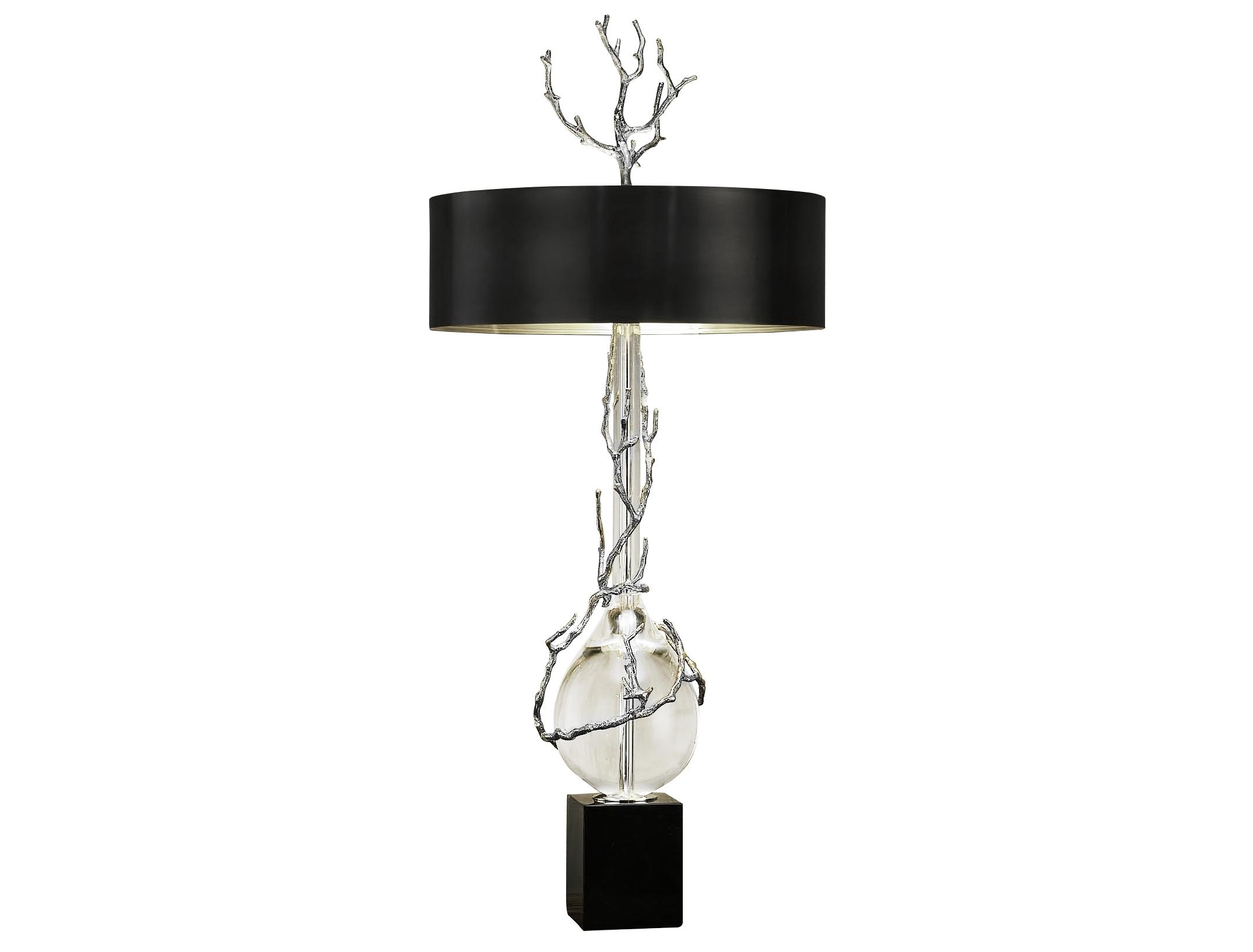 Светильник настольный RiminioДекоративные лампы<br>&amp;lt;div&amp;gt;Элегантная хрустальная настольная лампа с черным металлическим абажуром, с серебристым декоративным элементом на основании из мрамора. Хорошо подойдет для современного интерьера, оформленного в винтажном, эко, ар-деко, фьюжн, минимализм и лофт стилях. В любом интерьере она будет ярким и стильным элементом декора.&amp;lt;/div&amp;gt;&amp;lt;div&amp;gt;&amp;lt;br&amp;gt;&amp;lt;/div&amp;gt;&amp;lt;div&amp;gt;Вид цоколя: E27&amp;lt;/div&amp;gt;&amp;lt;div&amp;gt;Мощность: 40W&amp;lt;/div&amp;gt;&amp;lt;div&amp;gt;Количество ламп: 2 (нет в комплекте)&amp;lt;/div&amp;gt;<br><br>Material: Хрусталь<br>Высота см: 110.0