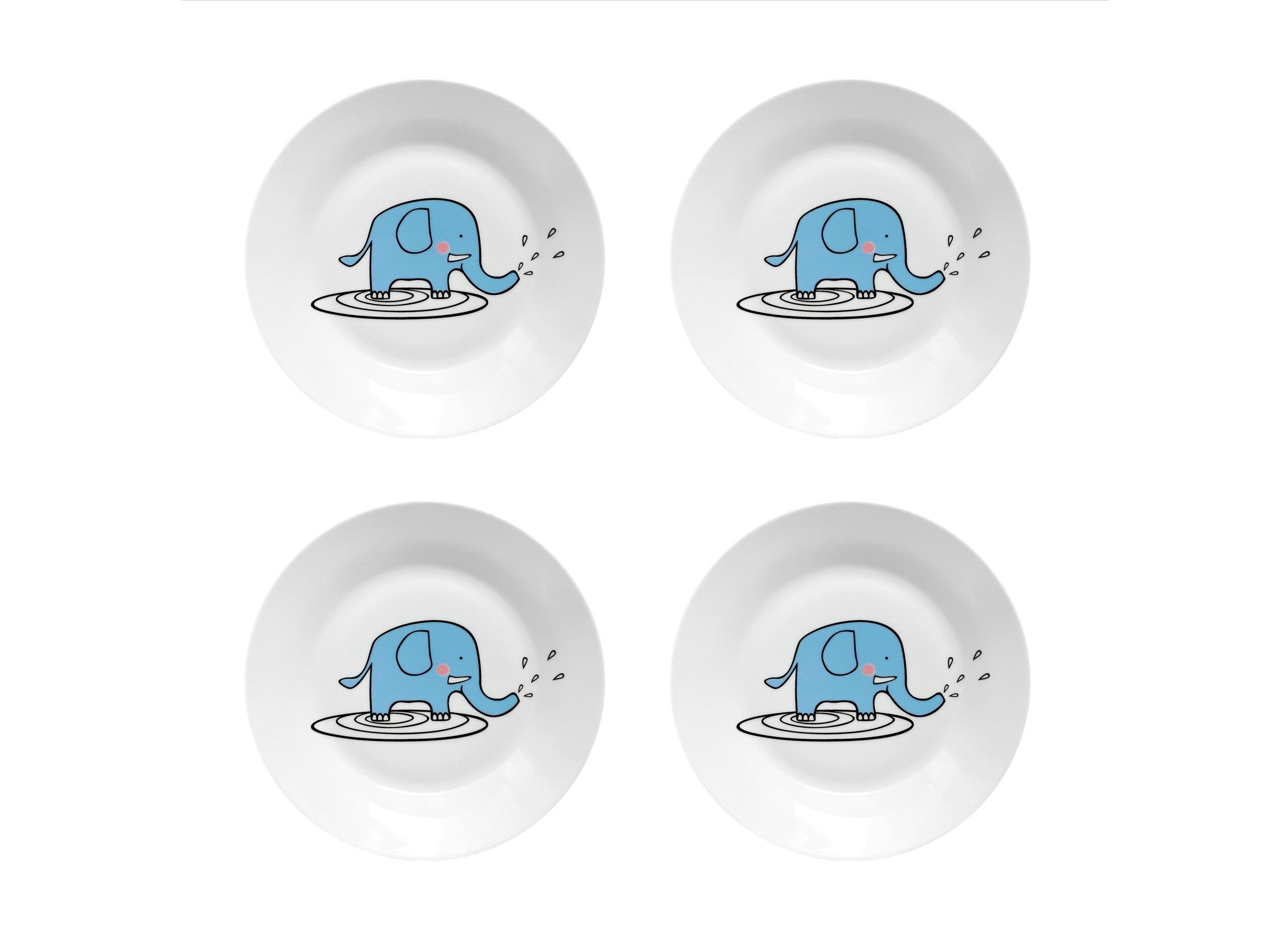 Набор тарелок Слон БубонТарелки<br>Посуду можно использовать в микроволновой печи и посудомоечной машине.&amp;amp;nbsp;&amp;lt;div&amp;gt;В комплект входят: Тарелка 20 см - 4 шт.&amp;lt;/div&amp;gt;<br><br>Material: Фарфор