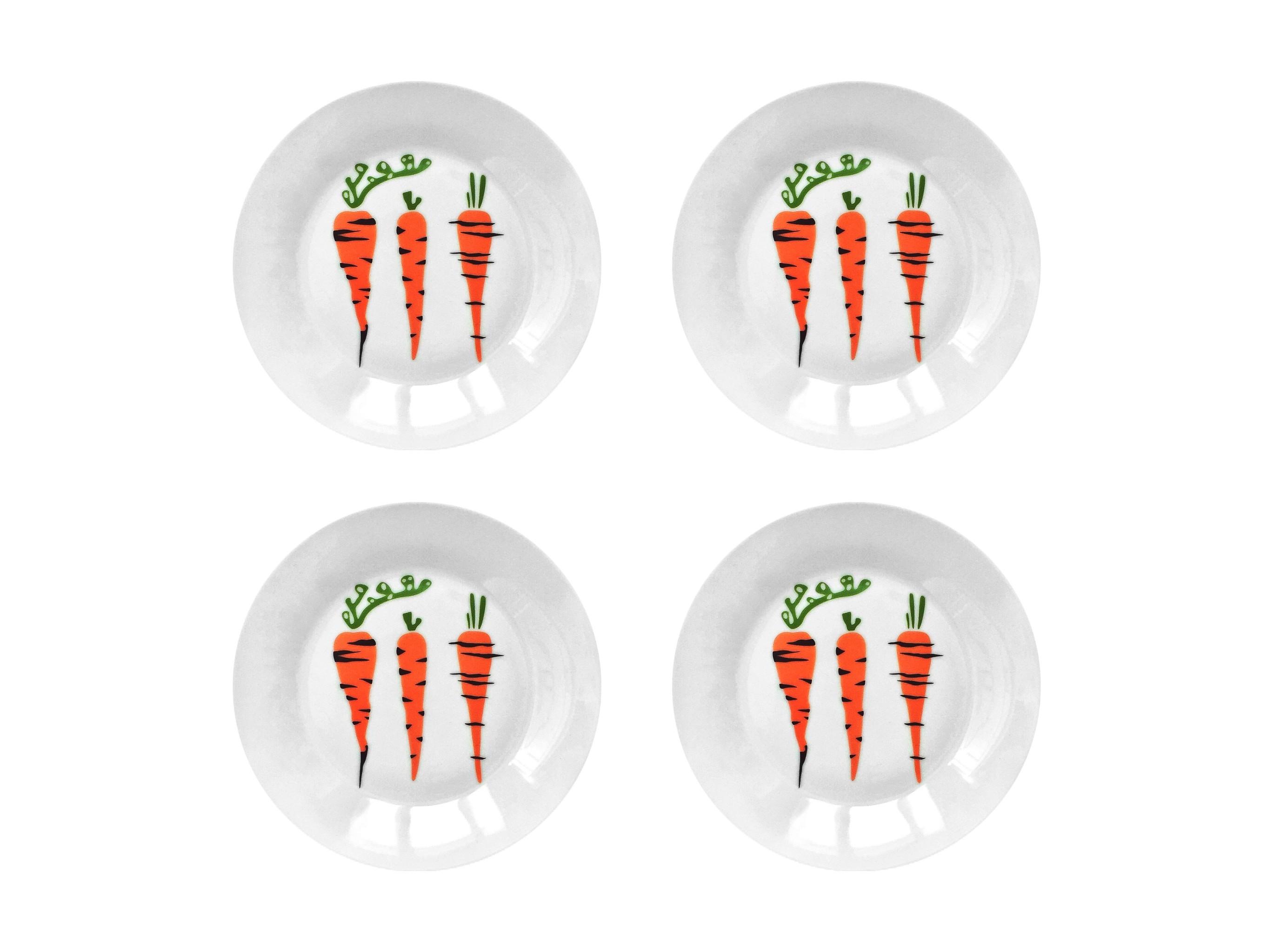 Набор тарелок МорковкаТарелки<br>Посуду можно использовать в микроволновой печи и посудомоечной машине.&amp;amp;nbsp;&amp;lt;div&amp;gt;В комплект входят: Тарелка 20 см - 4 шт.&amp;lt;/div&amp;gt;<br><br>Material: Фарфор