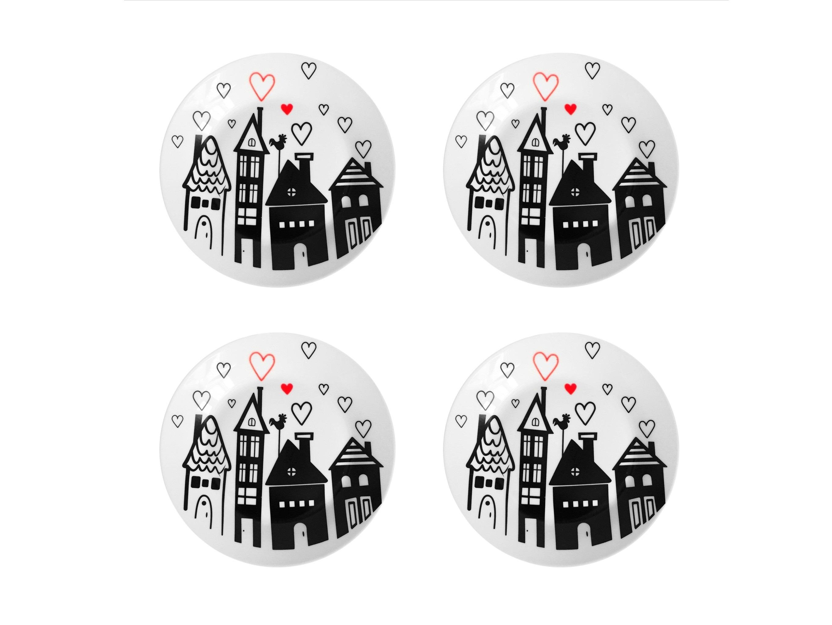 Набор тарелок Город любвиТарелки<br>Посуду можно использовать в микроволновой печи и посудомоечной машине.&amp;amp;nbsp;&amp;lt;div&amp;gt;В комплект входят: Тарелка 20 см - 4 шт.&amp;lt;/div&amp;gt;<br><br>Material: Фарфор