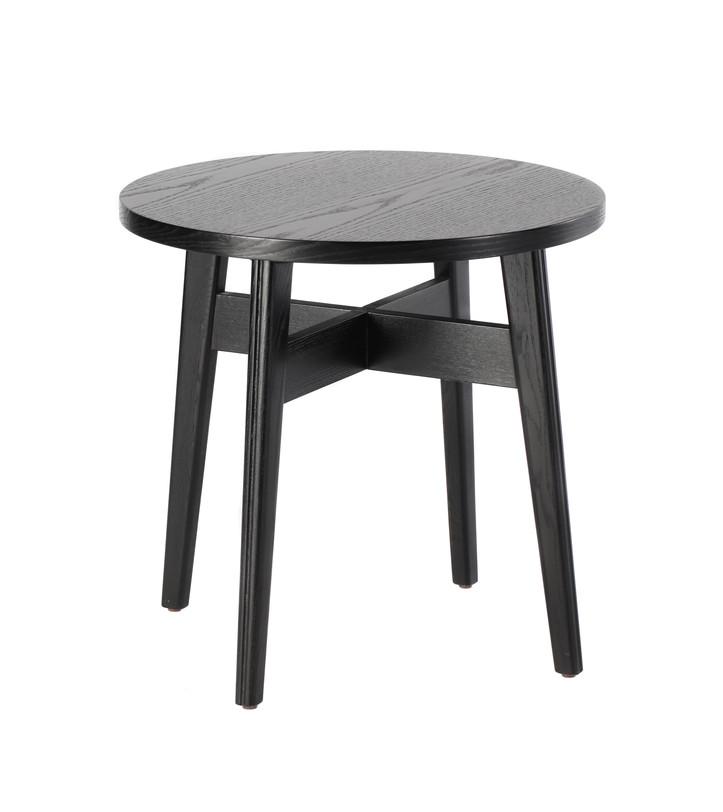 Стол BLACKПриставные столики<br>Такой столик вряд ли сможет нарушить стилевое единство любого современного интерьера, потому что он универсален: чёрный цвет, круглая столешница, высокие расставленные ножки, соединённые проногой, - всё строго, элегантно, функционально. На древесине, из которой он выполнен, сохранён уникальный природный рисунок.<br><br>Доступен в 2-х вариантах цвета.<br><br>Material: Дерево<br>Высота см: 54