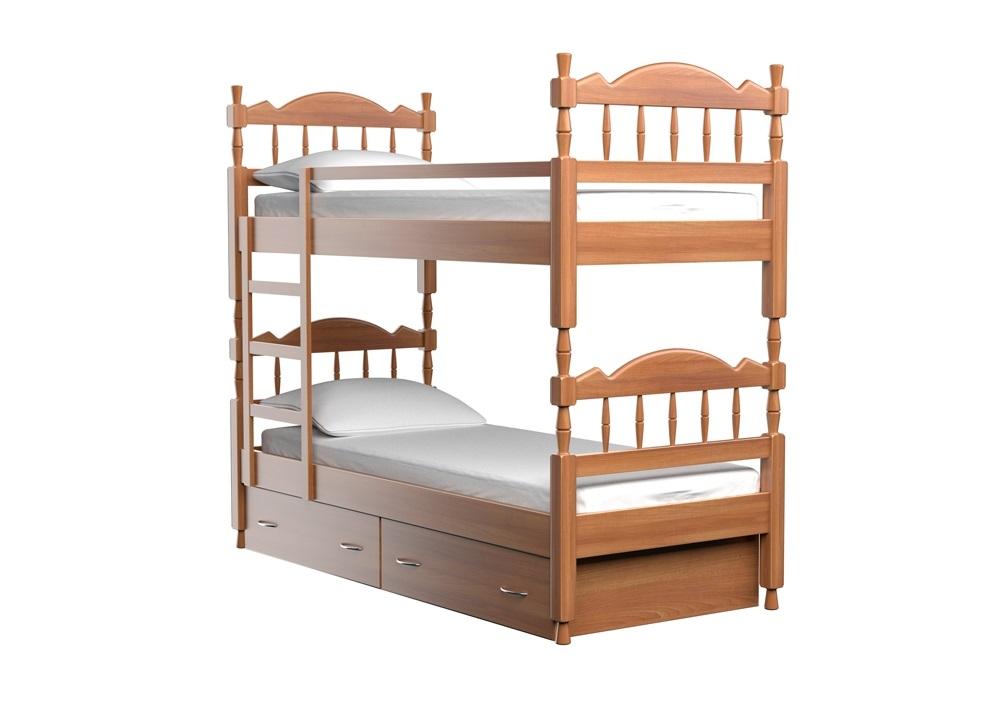 Детская кровать ЮниорДеревянные кровати<br>Удобная двухъярусная детская кровать с ящиками для хранения постельных принадлежностей и надежно закрепленной лестницей. Для обеспечения безопасности ребенка второй ярус оснащен бортиком-ограничителем, исключающим падение ребенка во время сна.&amp;amp;nbsp;&amp;lt;div&amp;gt;&amp;lt;br&amp;gt;&amp;lt;div&amp;gt;Вся мебель покрывается высококачественным полиуретановым лаком (Испания), что защищает поверхность от царапин и прочих повреждений.&amp;amp;nbsp;&amp;lt;/div&amp;gt;&amp;lt;div&amp;gt;Поставляется с двумя ящиками. Модель оснащена прочным ортопедическим основанием из массива ценных пород древесниы бука или ясеня.&amp;lt;/div&amp;gt;&amp;lt;div&amp;gt;Размер спального места: 80x200.&amp;lt;div&amp;gt;Также доступны другие цвета: белый, черный, красный, оранжевый.&amp;amp;nbsp;&amp;lt;br&amp;gt;&amp;lt;/div&amp;gt;&amp;lt;/div&amp;gt;&amp;lt;/div&amp;gt;<br><br>Material: Бук<br>Ширина см: 88.0<br>Высота см: 190.0<br>Глубина см: 212.0