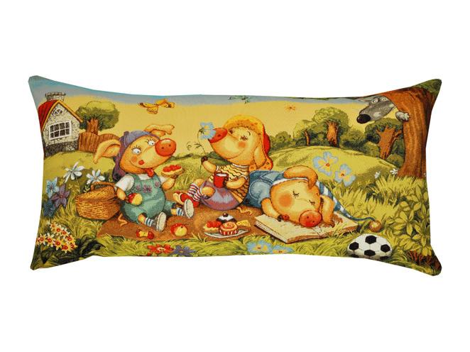 Подушка Три поросенкаПрямоугольные подушки и наволочки<br>Декоративная подушка   со съемным чехлом на молнии из гобелена. Рекомендована бережная ручная стирка.<br><br>kit: None<br>gender: None