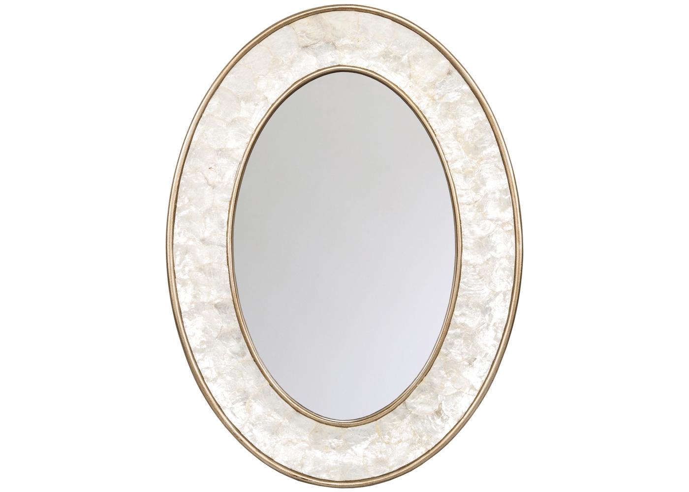 Настенное зеркало «Аскот»Настенные зеркала<br>Овальные зеркала располагают универсальностью. Благодаря симметрии, они мастерски синхронизируют пространства, но не претендуют на центральное расположение. Практические удобства зеркала &amp;quot;Аскот&amp;quot; сочетаются с декоративными привилегиями, - натуральным морским перламутром и галантной фацетной гранью, опоясавшей стройный зеркальный овал.<br><br>Material: Полиуретан<br>Ширина см: 56.0<br>Высота см: 76.0<br>Глубина см: 5.0