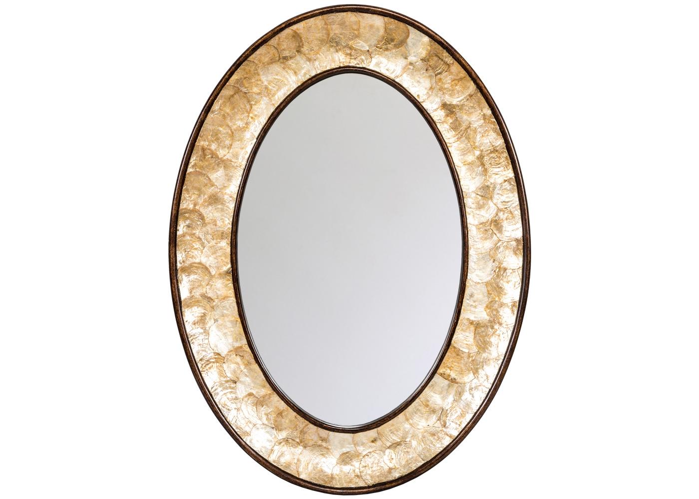 Настенное зеркало «Беркшир»Настенные зеркала<br>Классический овал зеркала Беркшир доведен до совершенства натуральным перламутром. Пластины перламутра представляют собой верхний слой океанических раковин. Их объемный отблеск загадочен и великолепен. Гармоничный силуэт подчеркнут деликатной фацетной гранью, придающей отражениям объем и глубину.
