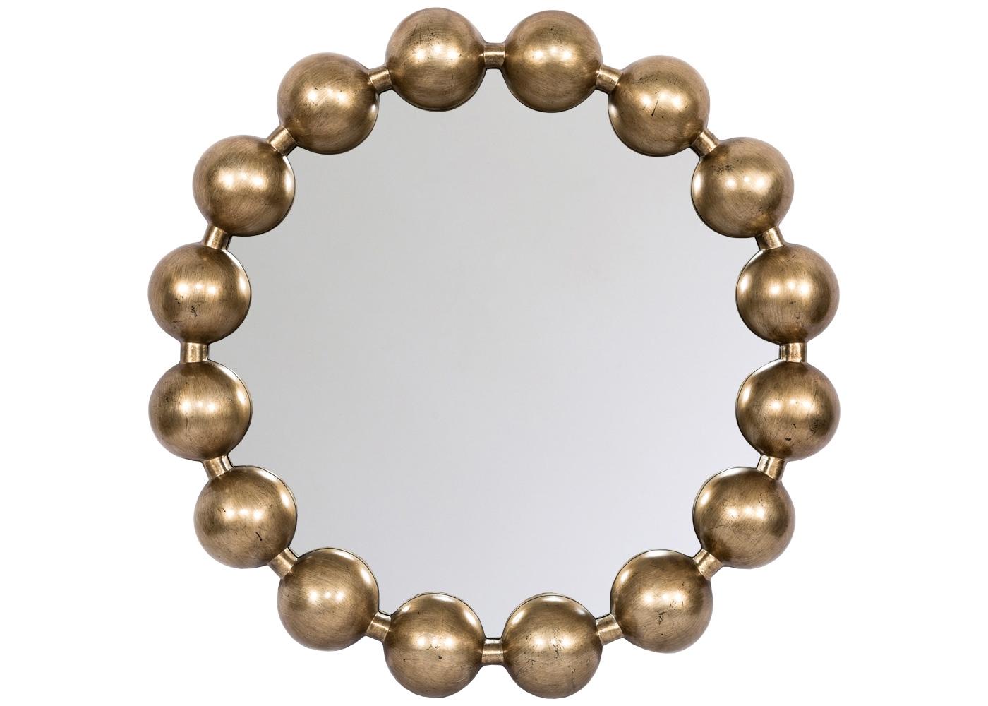 Настенное зеркало «Виконтесса Голд»Настенные зеркала<br>Лаконичный язык модерна способен идеально сочетаться с роскошью классических жанров, неравнодушных к металлизированному блеску и объемности. Особо приветствуются зеркала, дизайн и размер которых угождает любым домашним помещениям. Зеркало &amp;quot;Виконтесса&amp;quot; равноправно в гостиной комнате, спальне, столовой, холле и прихожей. Подражая дамскому ожерелью, обруч рамы кокетливо унизан переливающимися жемчужинами. Отражаясь в зеркале, их лощеная окружность рассеивает по периметру зеркала благородные золотистые блики.<br><br>Material: Полиуретан<br>Высота см: 8<br>Глубина см: 8.0