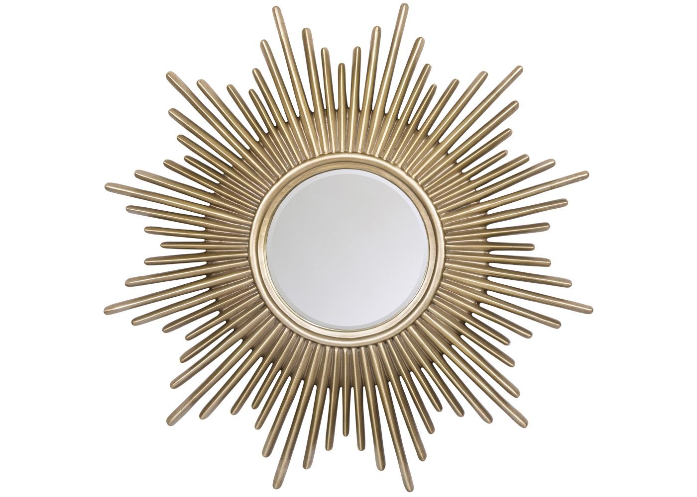 Настенное зеркало «Монтгомери»Настенные зеркала<br>Популярность зеркал в форме солнца и звезды объясняется не только сегодняшней интерьерной модой. Мягкий золотистый оттенок и идеальная симметрия приветствуют их любым из домашних помещений, довольных гармонией цвета и позитивным настроением. Зеркальное ядро опоясано тонкой фацетной гранью, играющей золотистыми отблесками лучезарной оправы. Рама изготовлена из полиуретана, - экологически безвредного, прочного и долговечного материала.<br><br>Material: Полиуретан<br>Ширина см: 91.0<br>Высота см: 91.0<br>Глубина см: 3.5