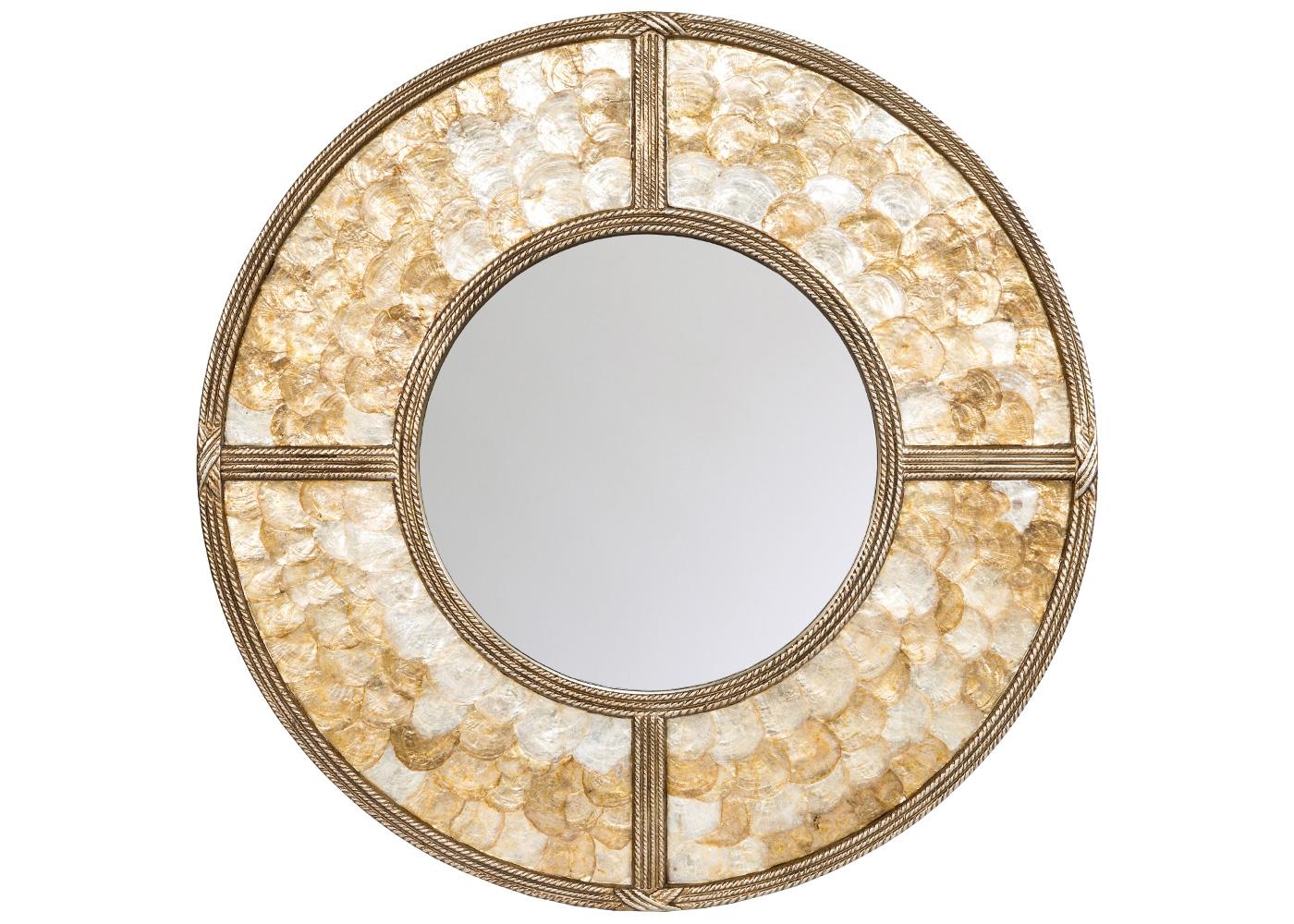 Настенное зеркало «Гринвич»Настенные зеркала<br>На сегодняшний день дизайнеры Европы поглощены филиппинским национальным ремеслом Capiz Shell, украшающим интерьеры натуральным перламутром. Перламутровые пластины - это натуральный верхний слой океанических раковин. Объемный отблеск перламутра загадочен и великолепен. Где бы Вы его ни расположили, зеркало &amp;quot;Гринвич&amp;quot;, подобно мишени, беспрекословно завоюет центр интерьерного внимания. Благородным зеркальным украшением является широкая фацетная грань, задающая эффект объема и подсветки.<br><br>Material: Полиуретан