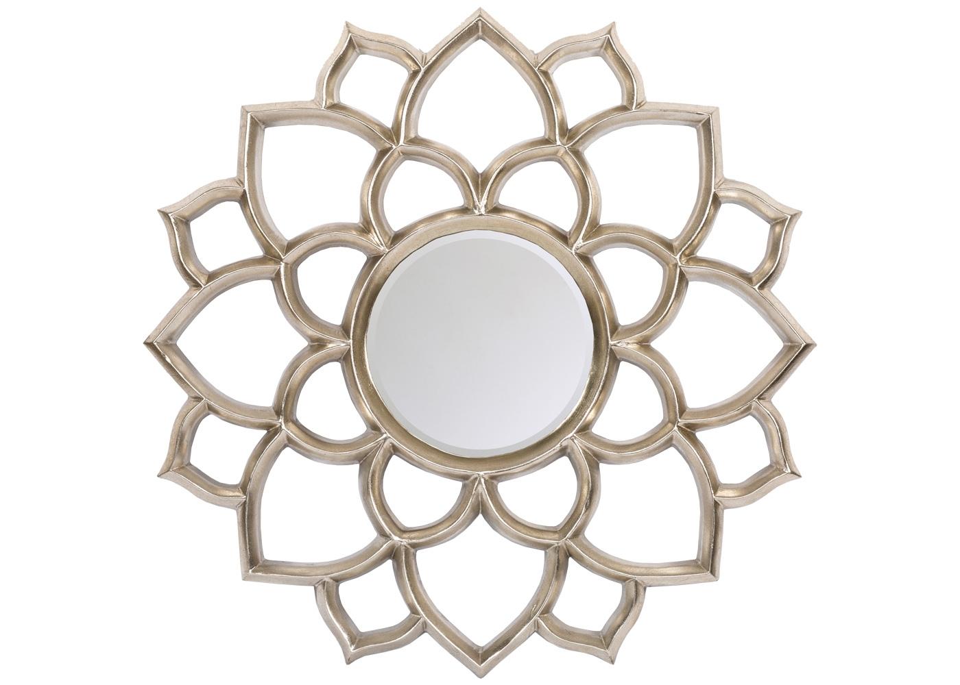 Настенное зеркало «Саммервилл»Настенные зеркала<br>Зеркало Саммервилл радует глаз платиновым оттенком рамы и дизайном, старательно обводящим природную форму георгина. Зеркальное ядро окружено фацетной гранью, подчеркивающей легкость дизайна. Прозрачный орнамент одинаково хорош и для цветных обоев, и для однотонных стен. Рама изготовлена из полиуретана, который достоверно имитирует любые материалы. На первый взгляд, оправа Саммервилл не отличается от металлической