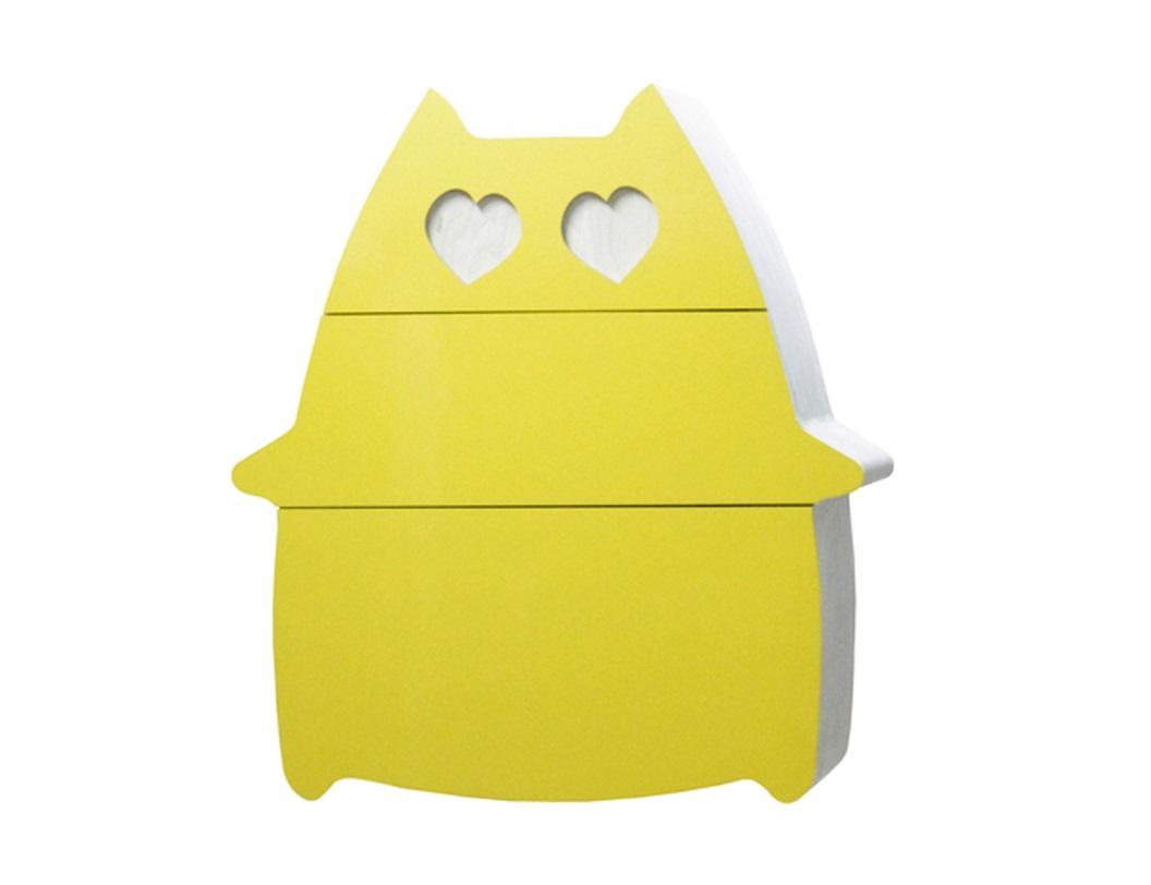 Комод Сat in love - обнимунИнтерьерные комоды<br>Прелестный комод лимонного цвета с ящиками, которые выдвигаются при легком прикосновении руки. Обязательно создаст приятное и свежее настроение в спальне или детской комнате.<br><br>Материал: березовая фанера, цветной пластик, водный лак.<br>Фурнитура: ящики без фурнитуры / фурнитура без доводчиков / фурнитура с доводчиком blum.<br>Цвета фасада: белый, серый, черный, коричневый, красный, розовый, оранжевый, желтый, зеленый, салатовый, голубой, синий, сиреневый, фиолетовый.<br>Срок изготовления: 4-5 недель.<br><br>Material: Фанера<br>Ширина см: 92<br>Высота см: 100<br>Глубина см: 38